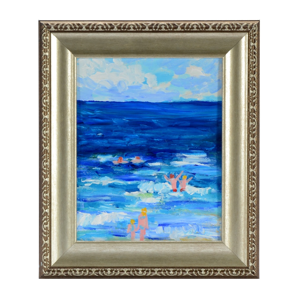 """William Becker Acrylic on Canvas Board """"The Beach and a Swim"""""""