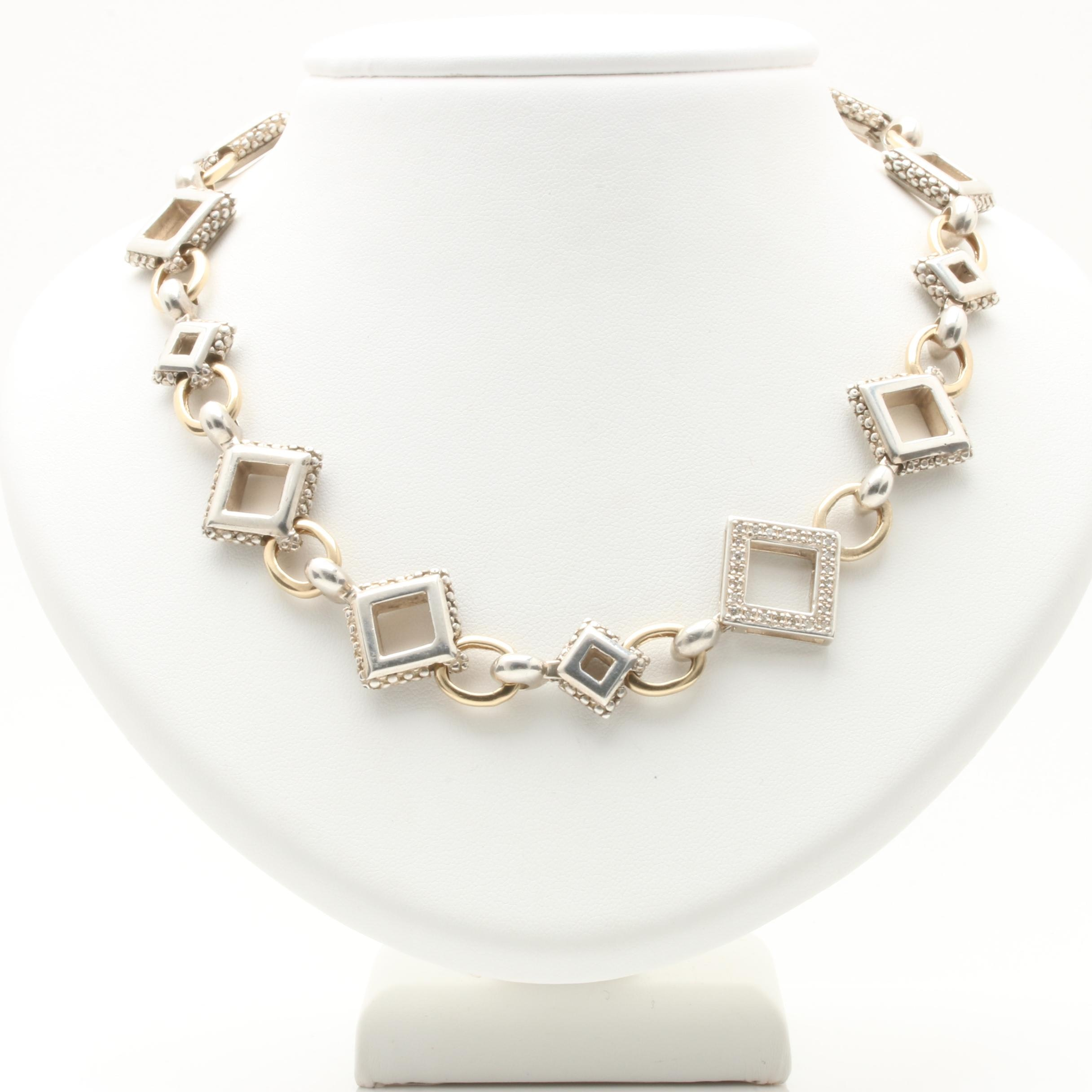 Sterling Silver Diamond Necklace with 14K Yellow Gold Accents
