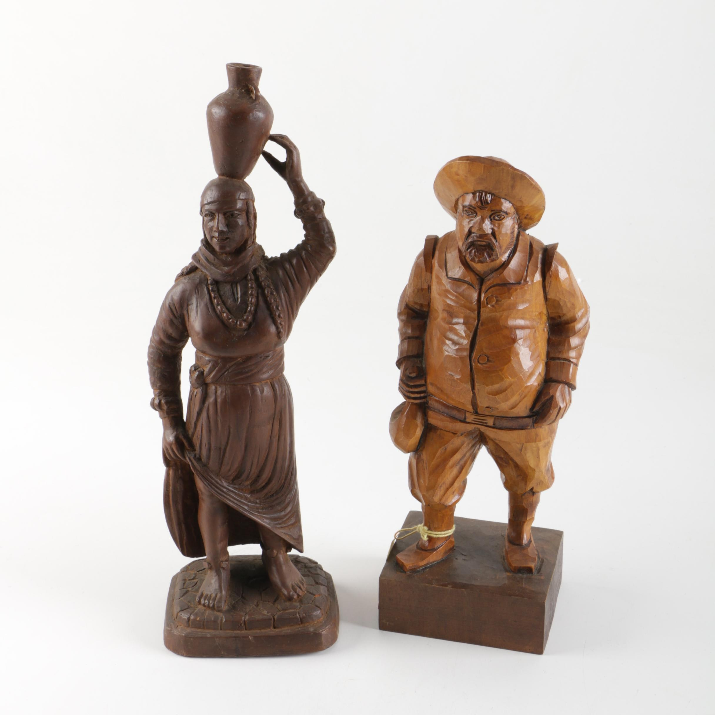 Two Carved Wooden Figurines