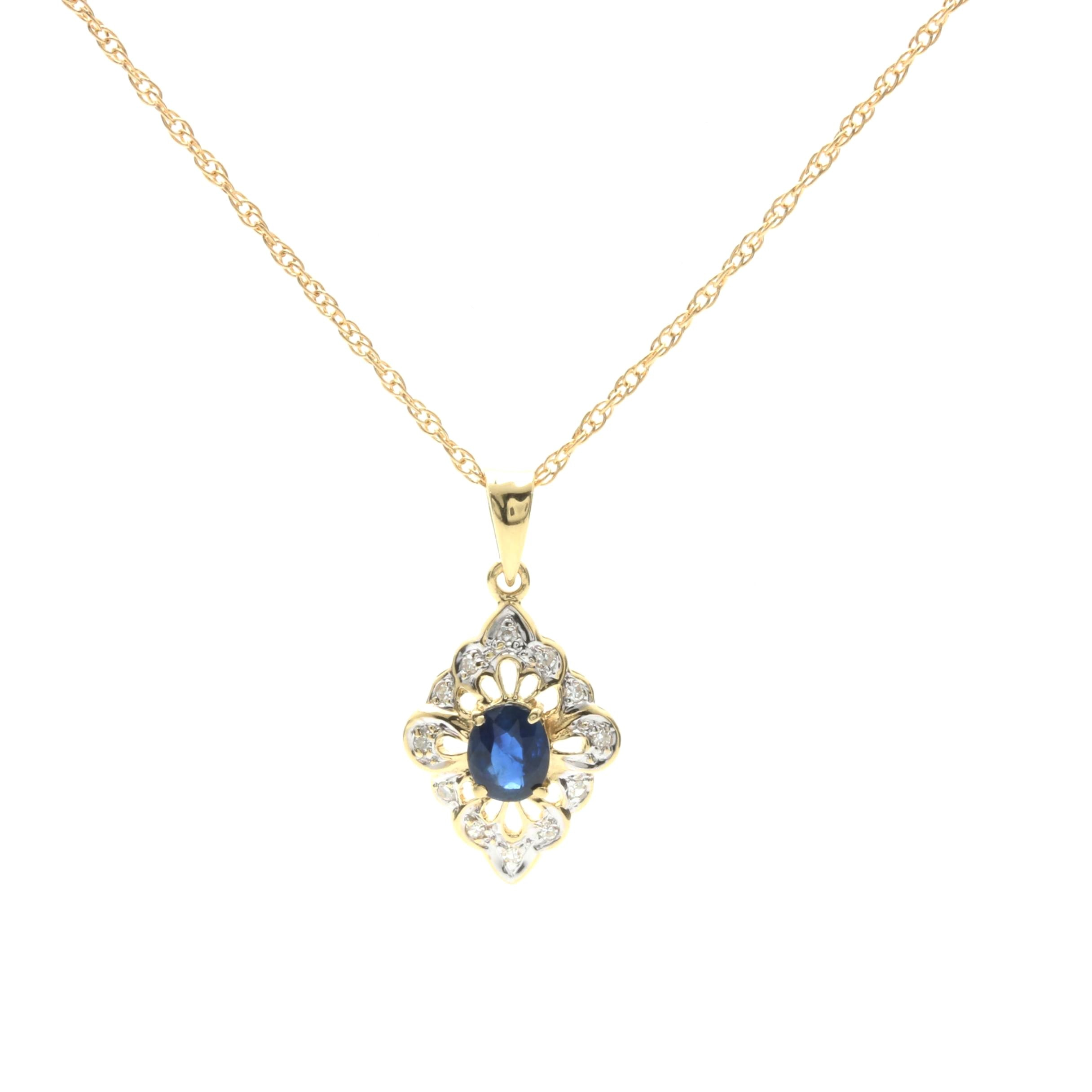 14K Yellow Gold Sapphire and Diamond Floral Necklace