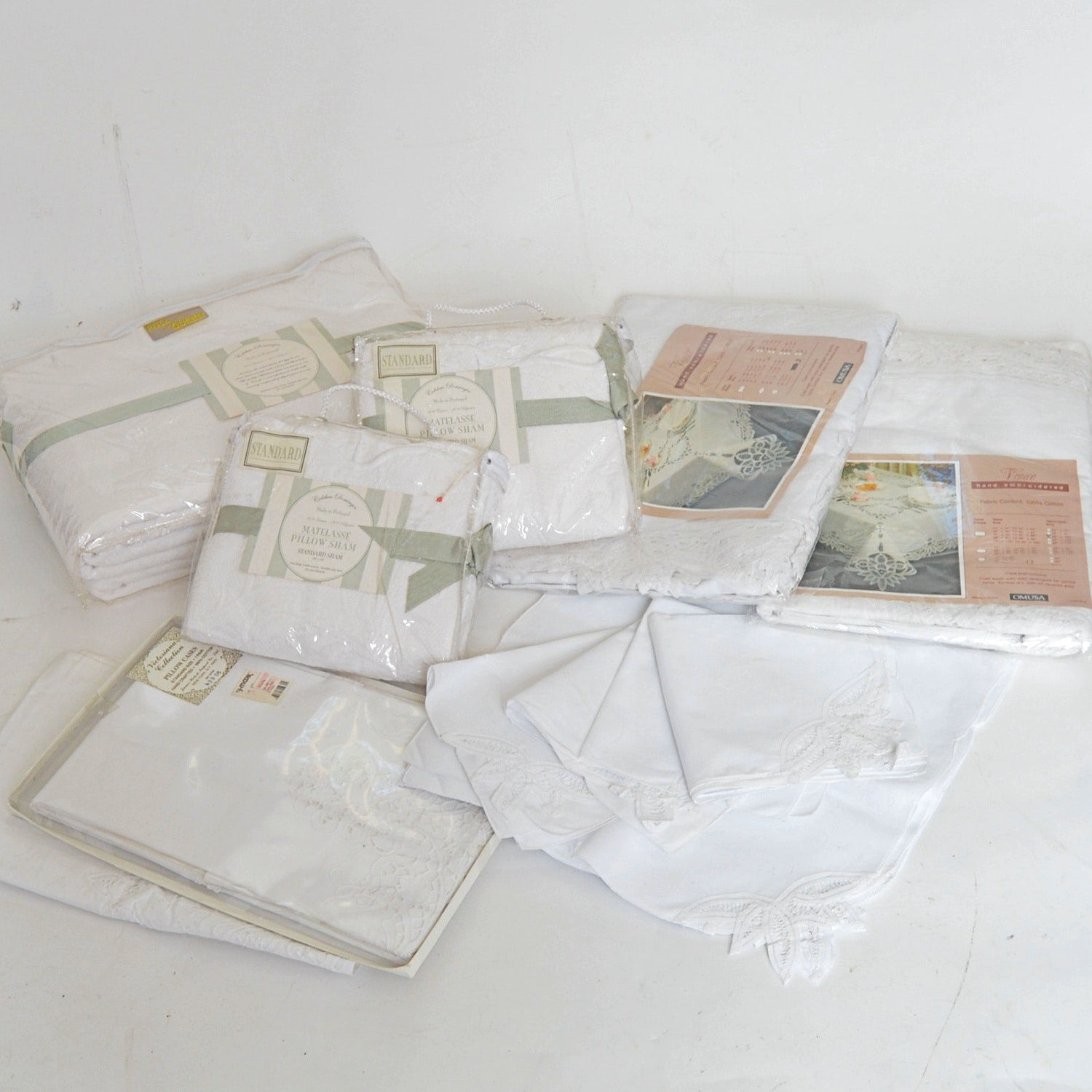 New-in-Packages Bed and Table Linens with Matelasse and Battenberg