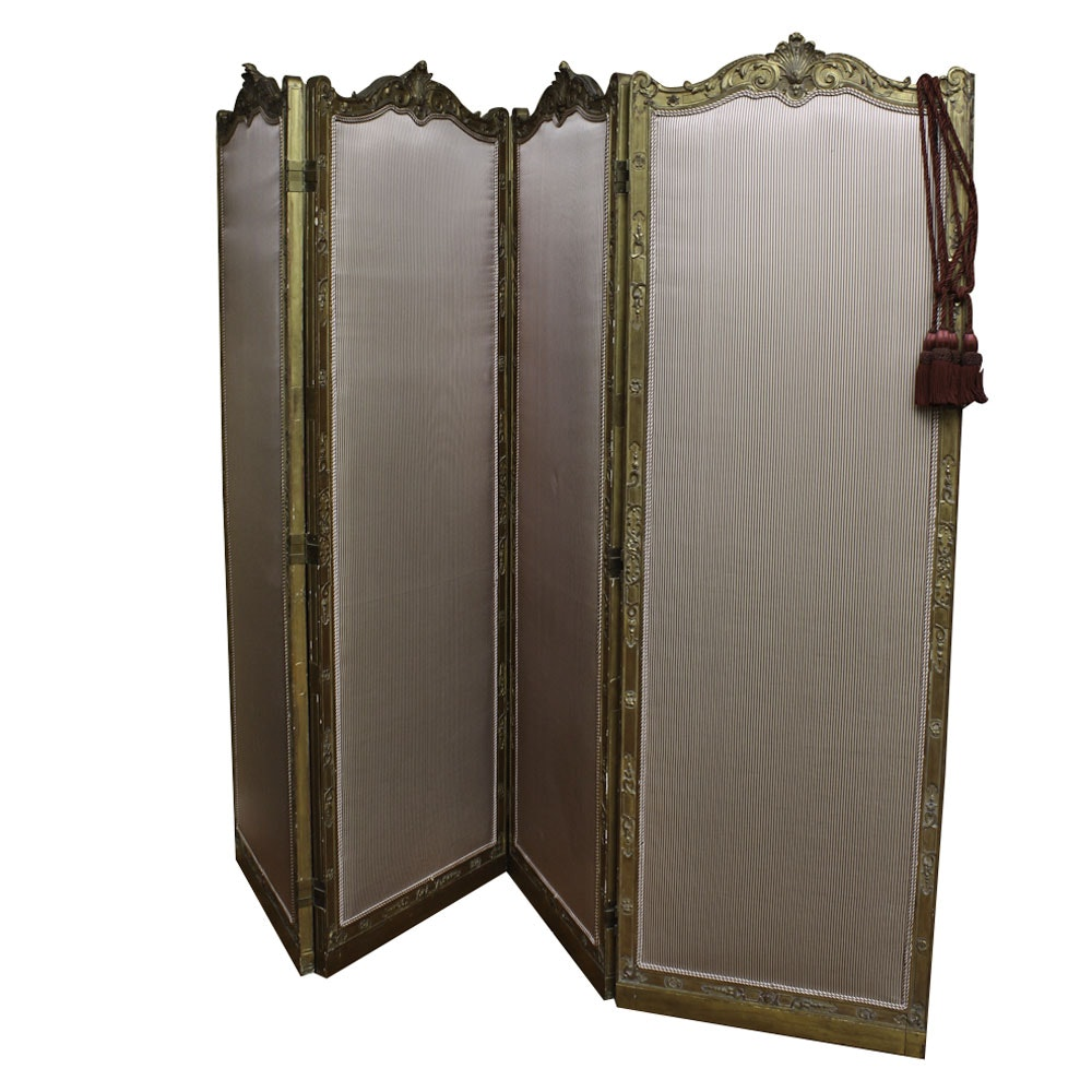 Vintage French Régence Style Gilded Folding Screen