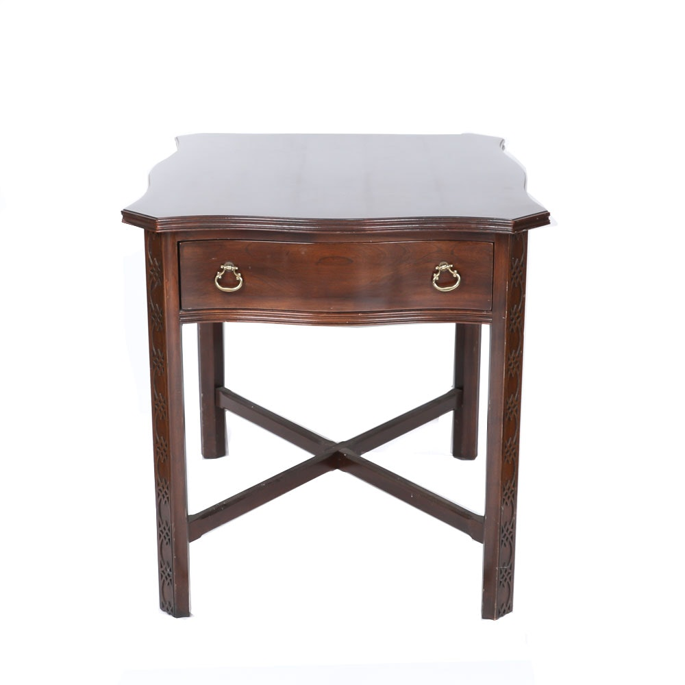 Chinese Chippendale Style End Table by Ethan Allen
