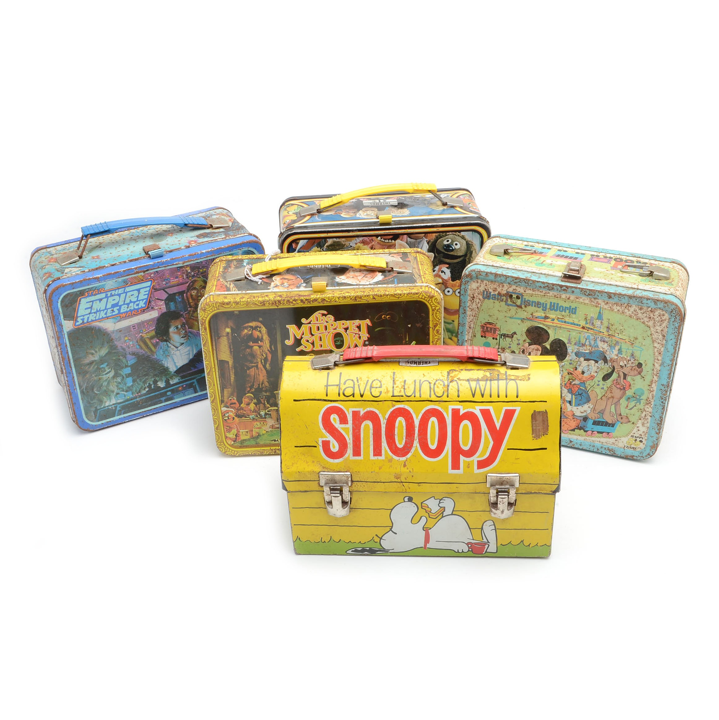 Vintage 1960s Cartoon Lunchboxes Including Peanuts and Muppets