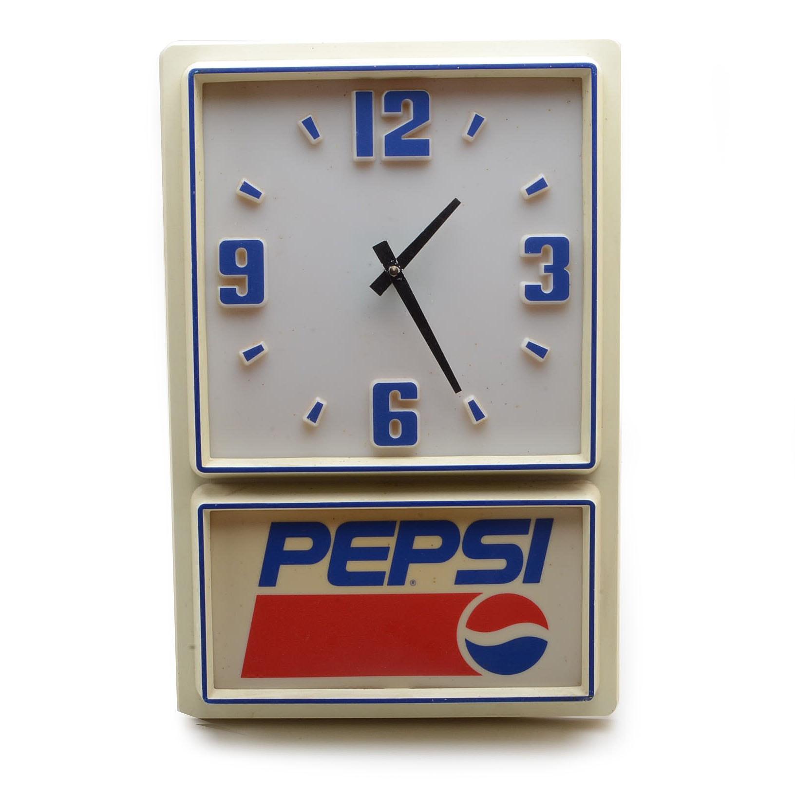 "1970s ""Pepsi Cola"" Light Up Wall Clock"