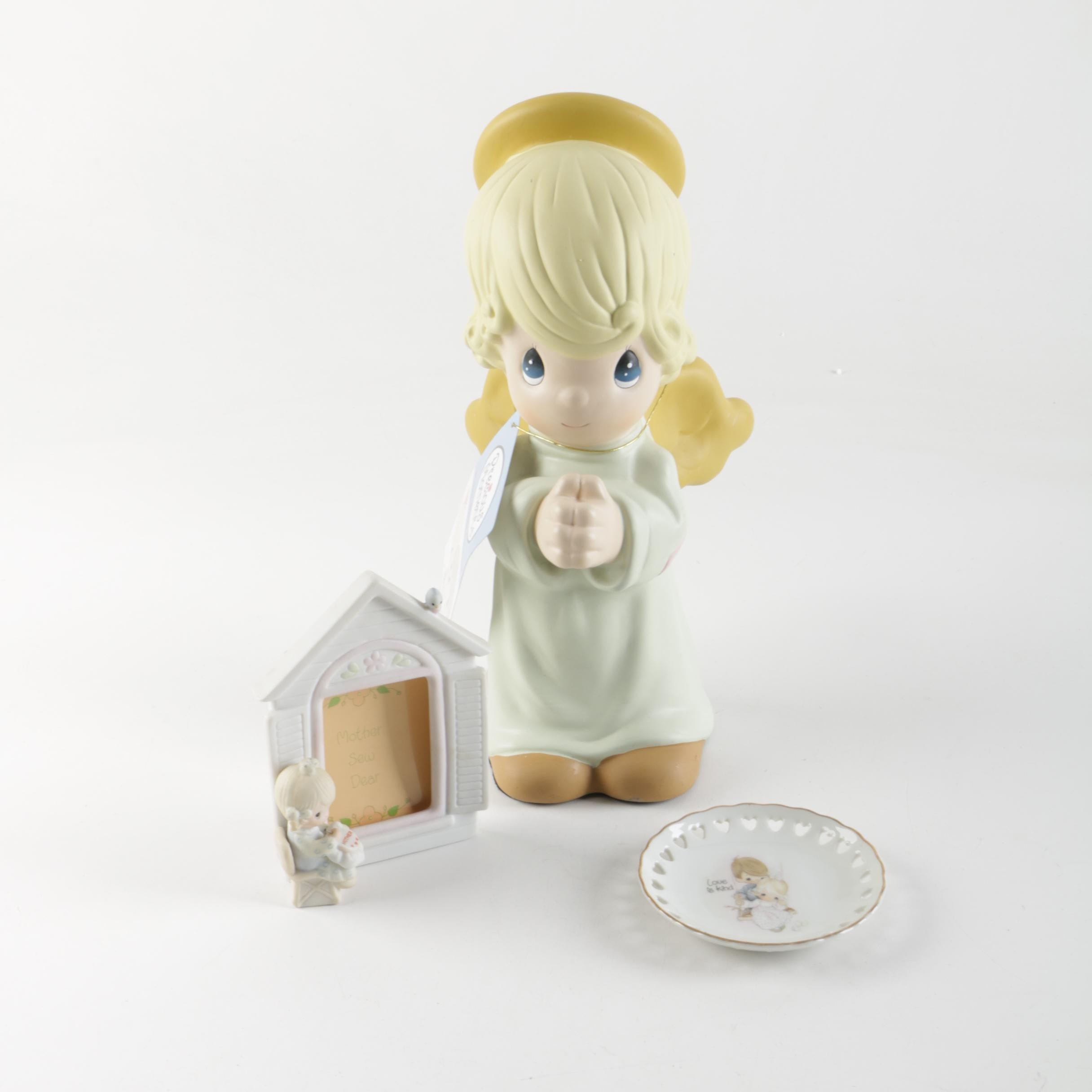 Precious Moments Photo Frame, Angel Figurine and Decorative Plate