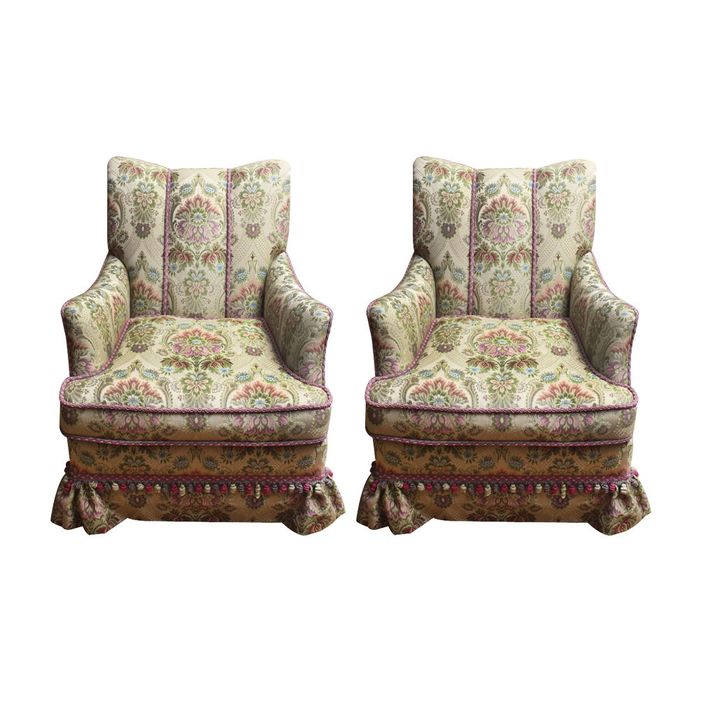 Pair of Brocade Upholstered Armchairs by Brunschwig & Fils