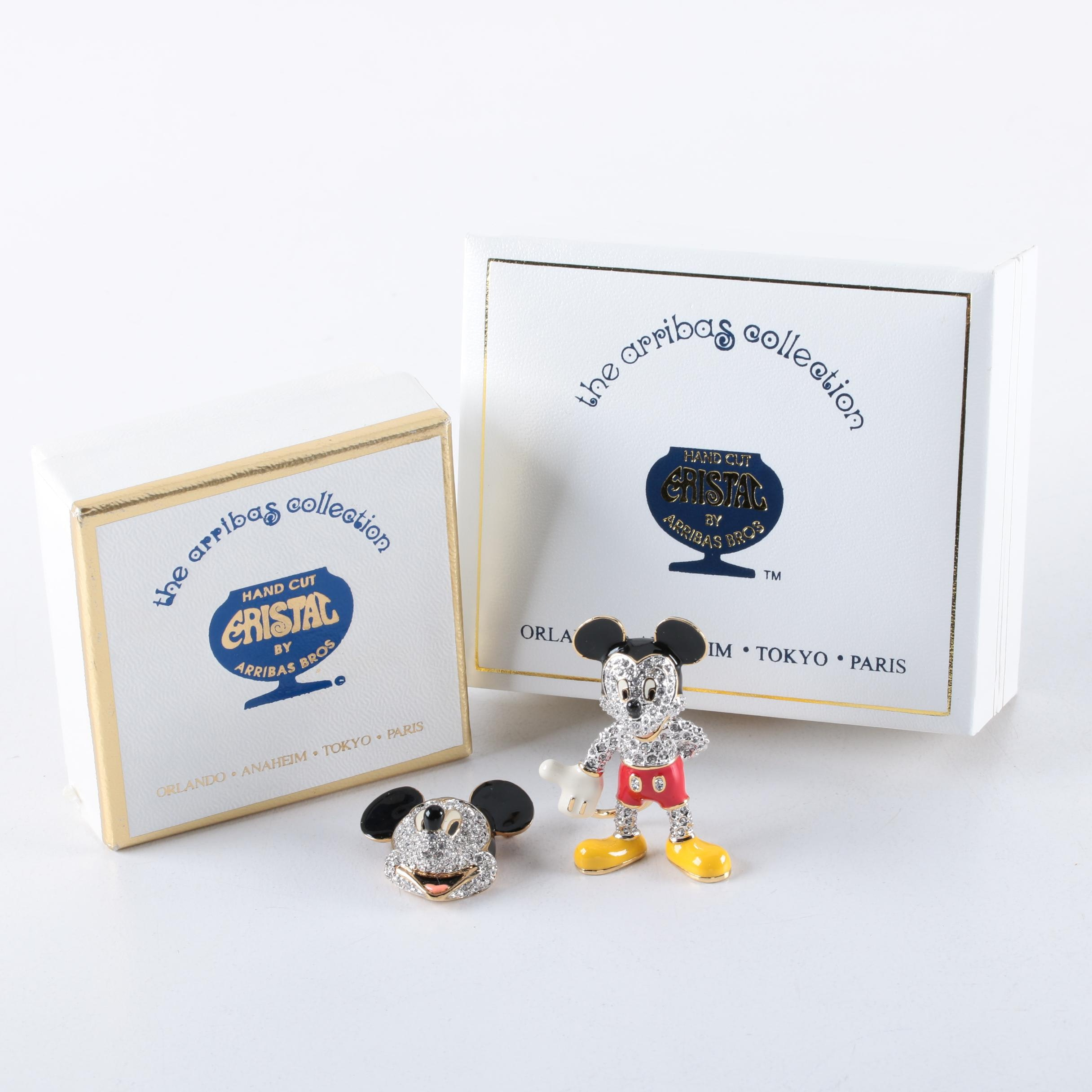Arribas Bros. Disney Jeweled Mickey Mouse Figurine and Brooch