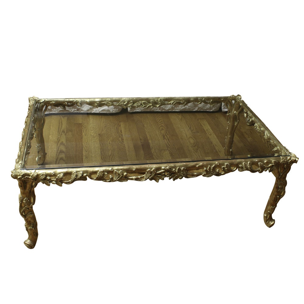 Rococo Revival Gilt Metal Coffee Table