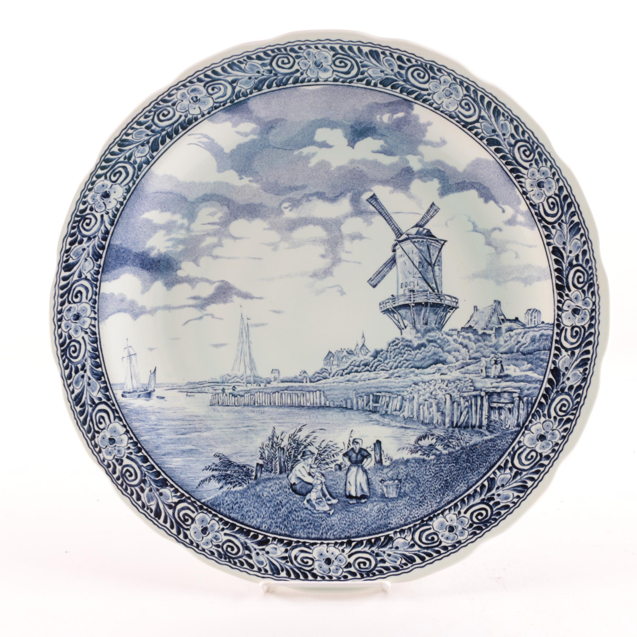Boch Blue and White Wall Plate Made for Royal Sphinx
