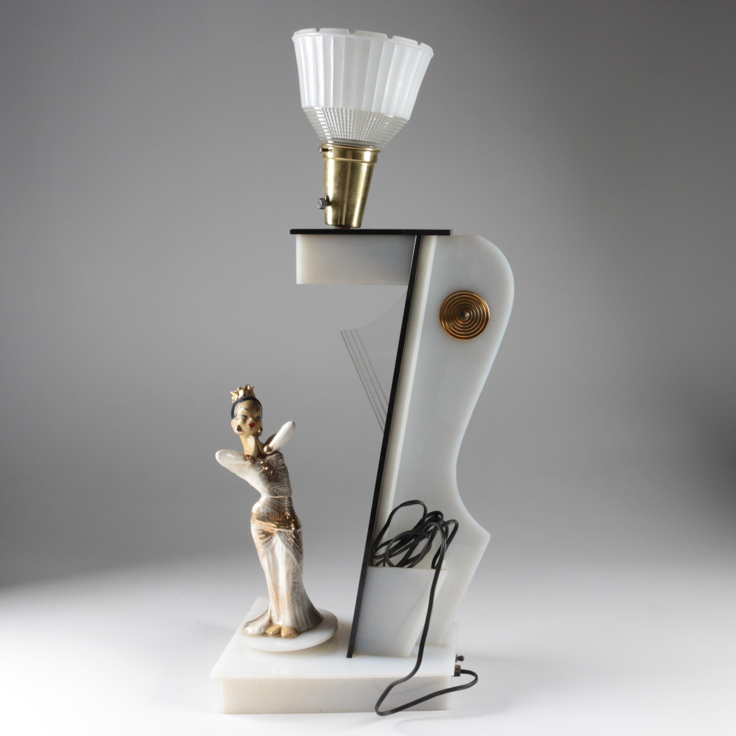 Moss Mfg. Mid Century Art Deco Figural Spinning Table Lamp