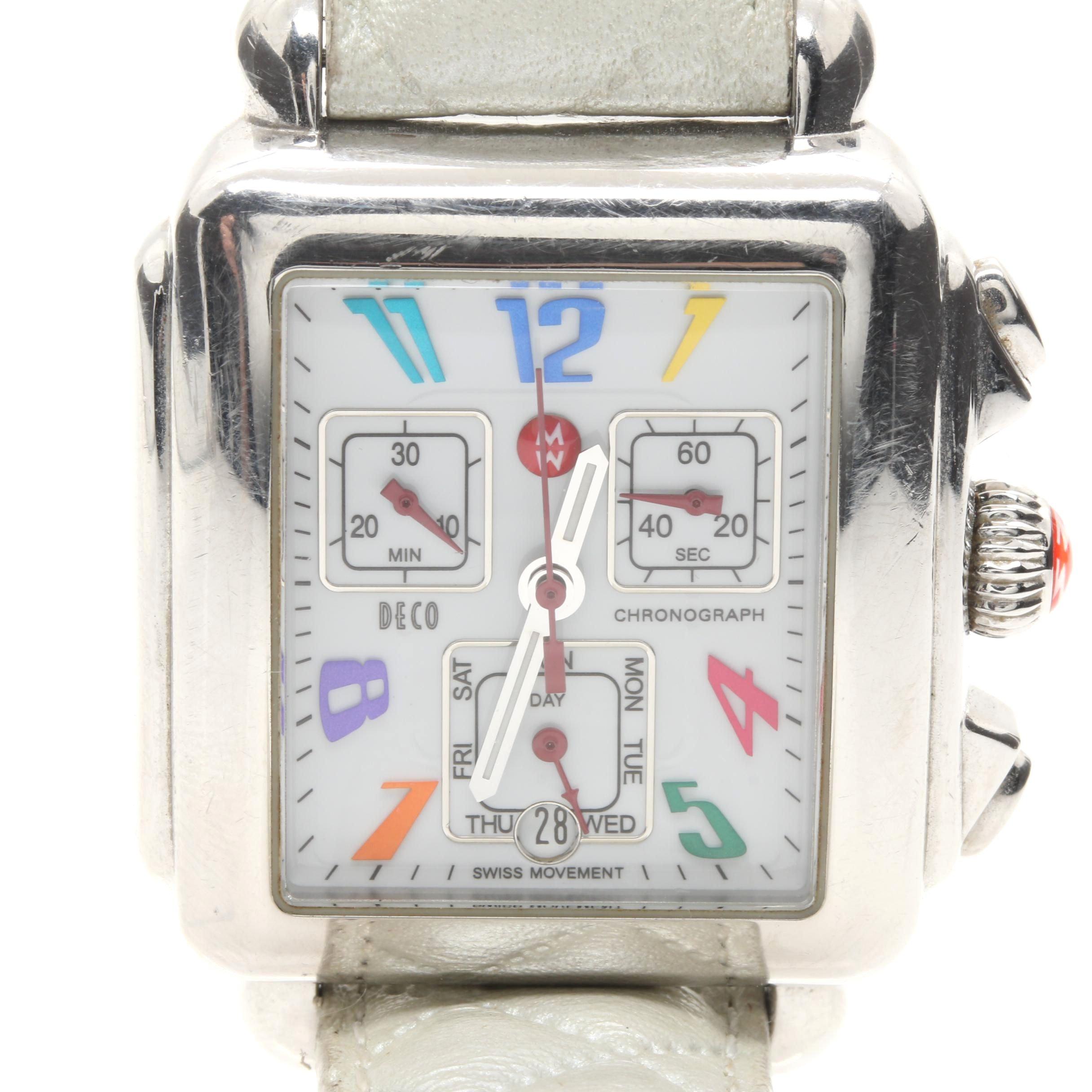 Silver Tone Michele Chronograph Wriswatch