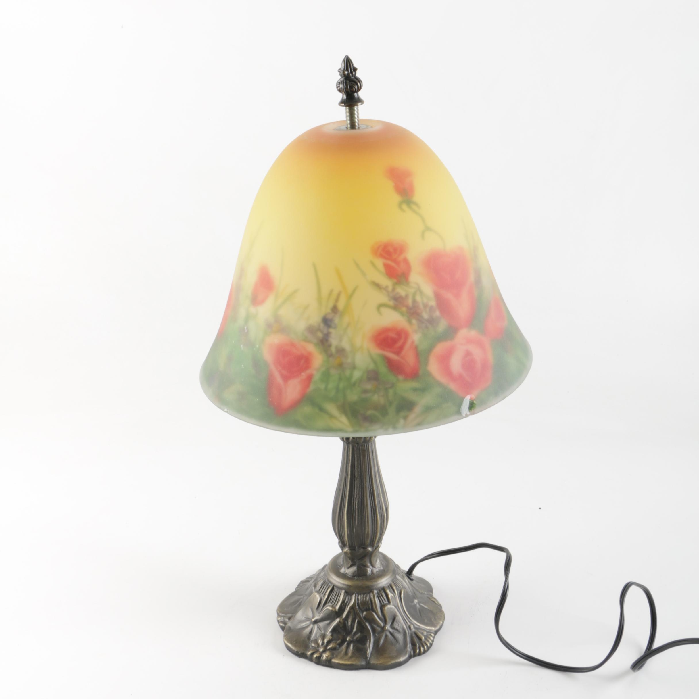Accent Lamp with Floral Glass Shade