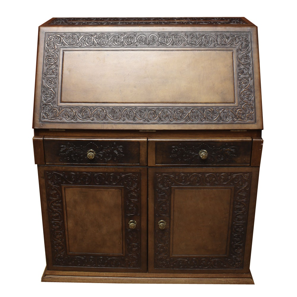Contemporary Slant Front Secretary Desk with Carved Trim