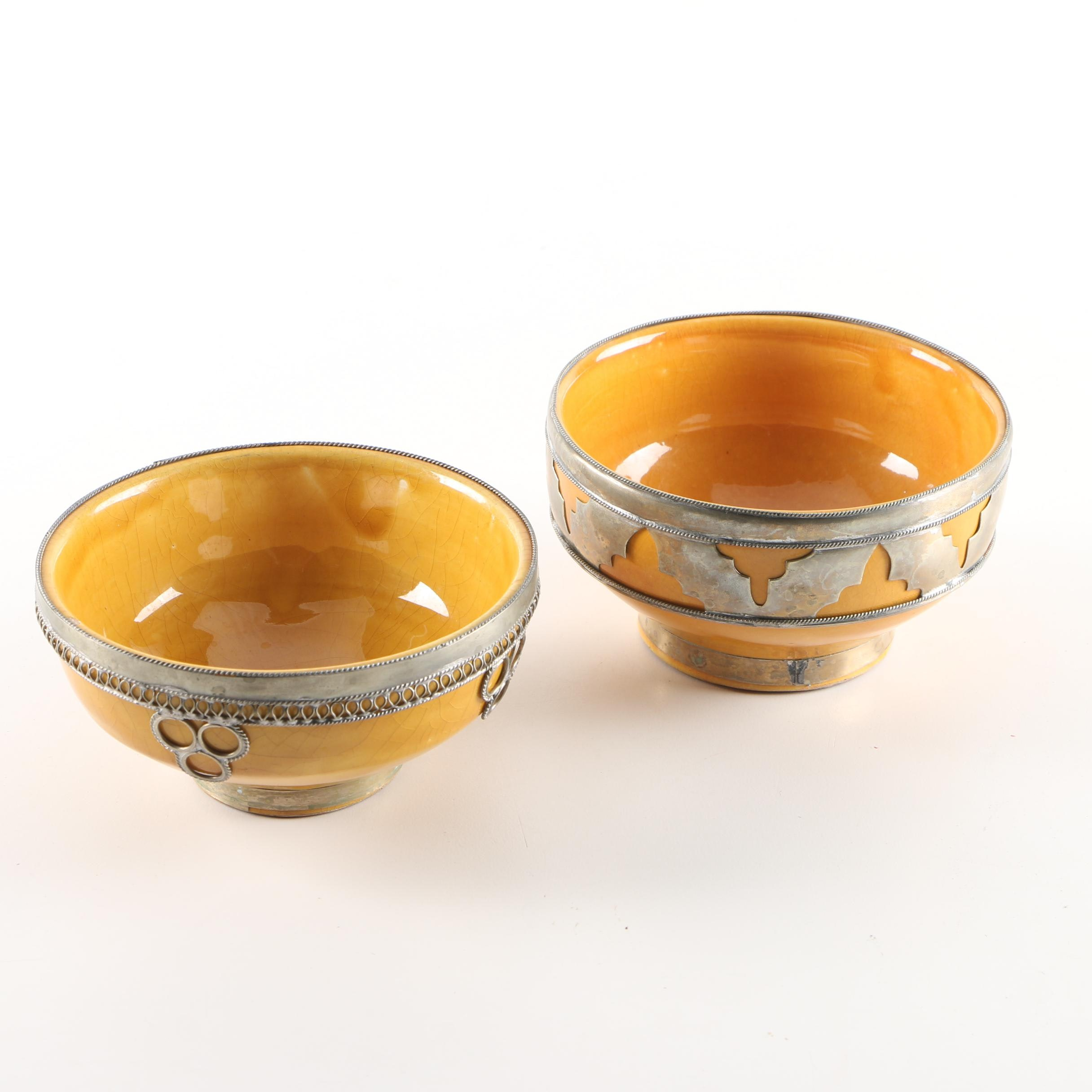 Moroccan Ceramic Bowls with Decorative Silver Tone Accents