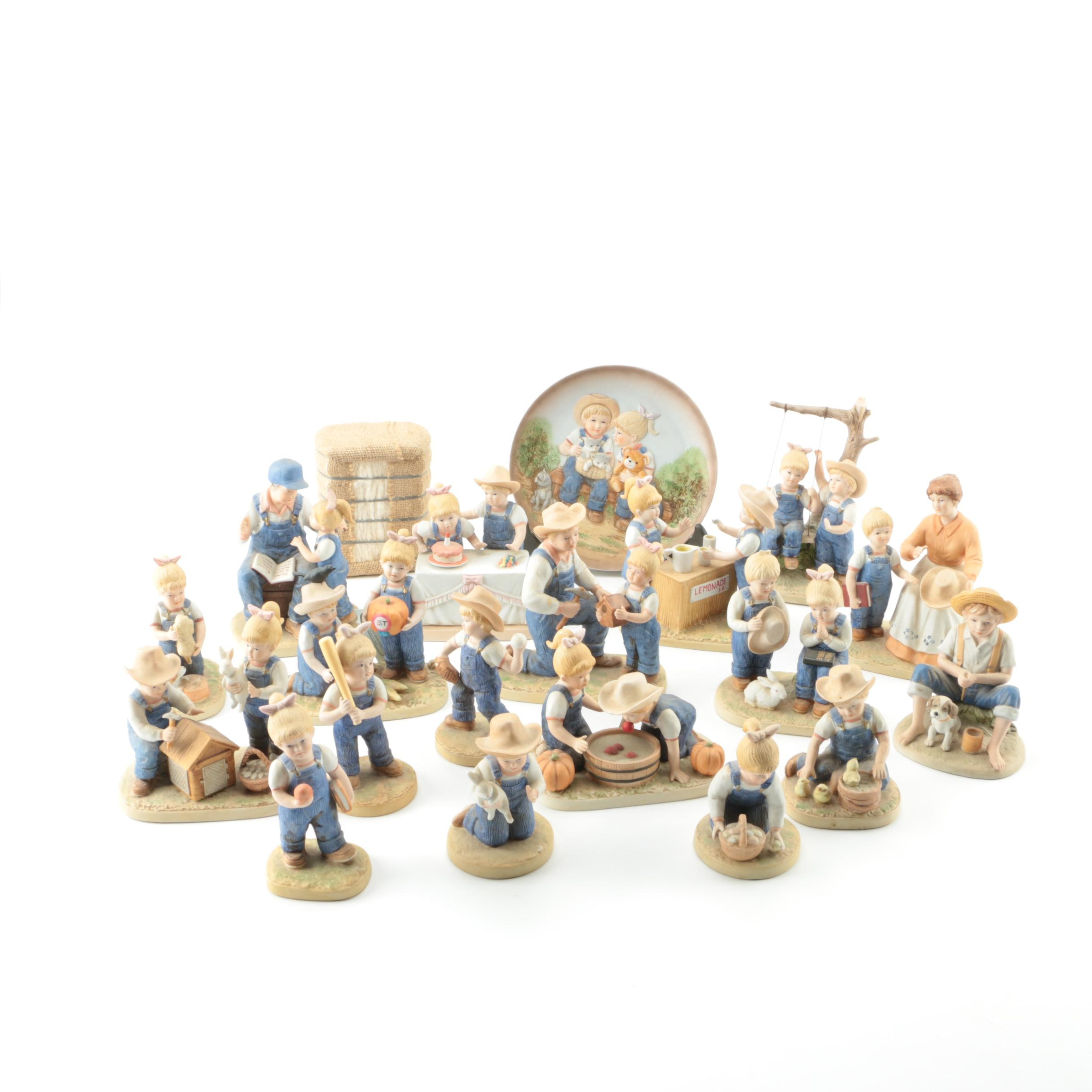 "Homco ""Denim Days"" Figurines and Plate from Home Interiors & Gifts"