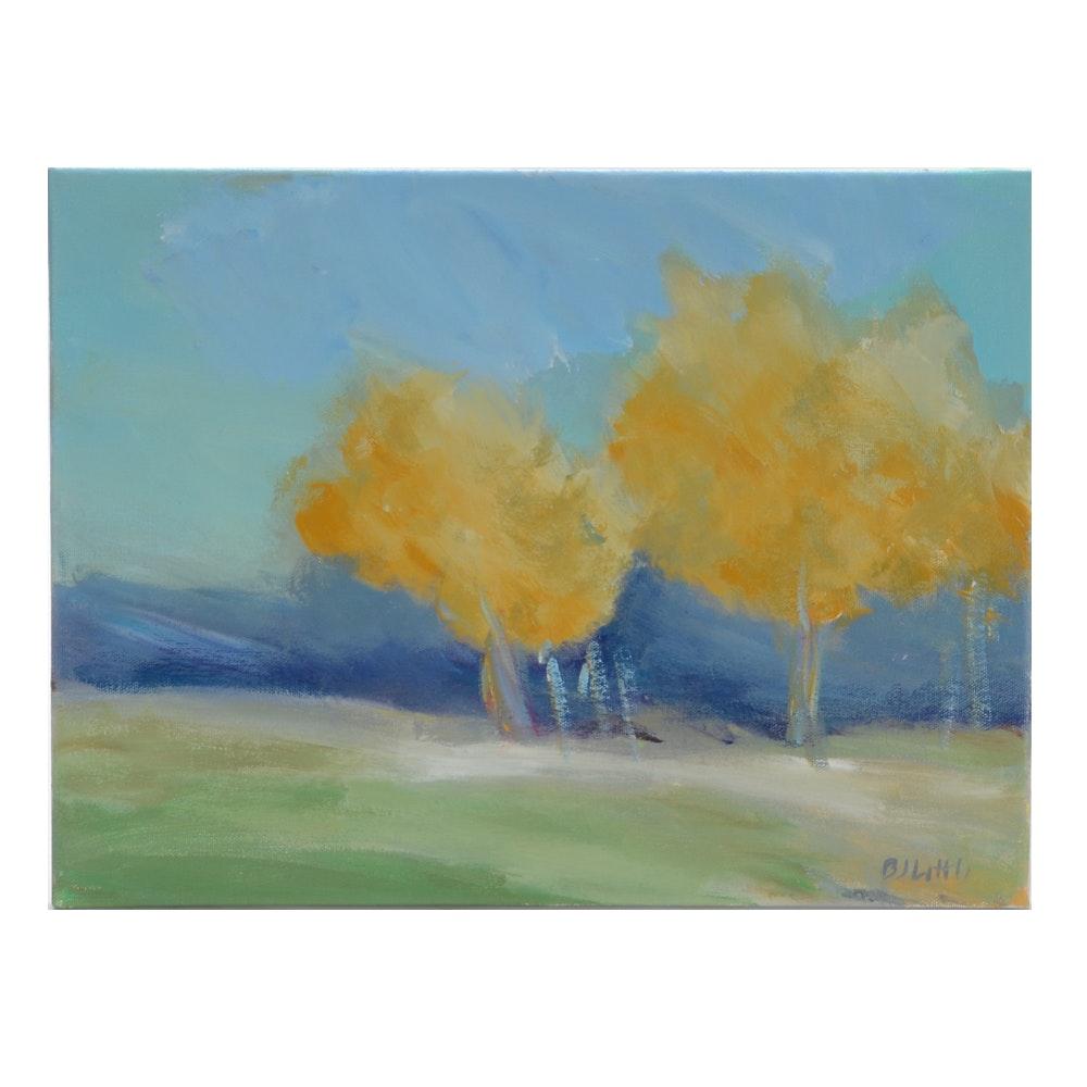 "B. J. Little Acrylic Painting ""Edge of Orchard"""