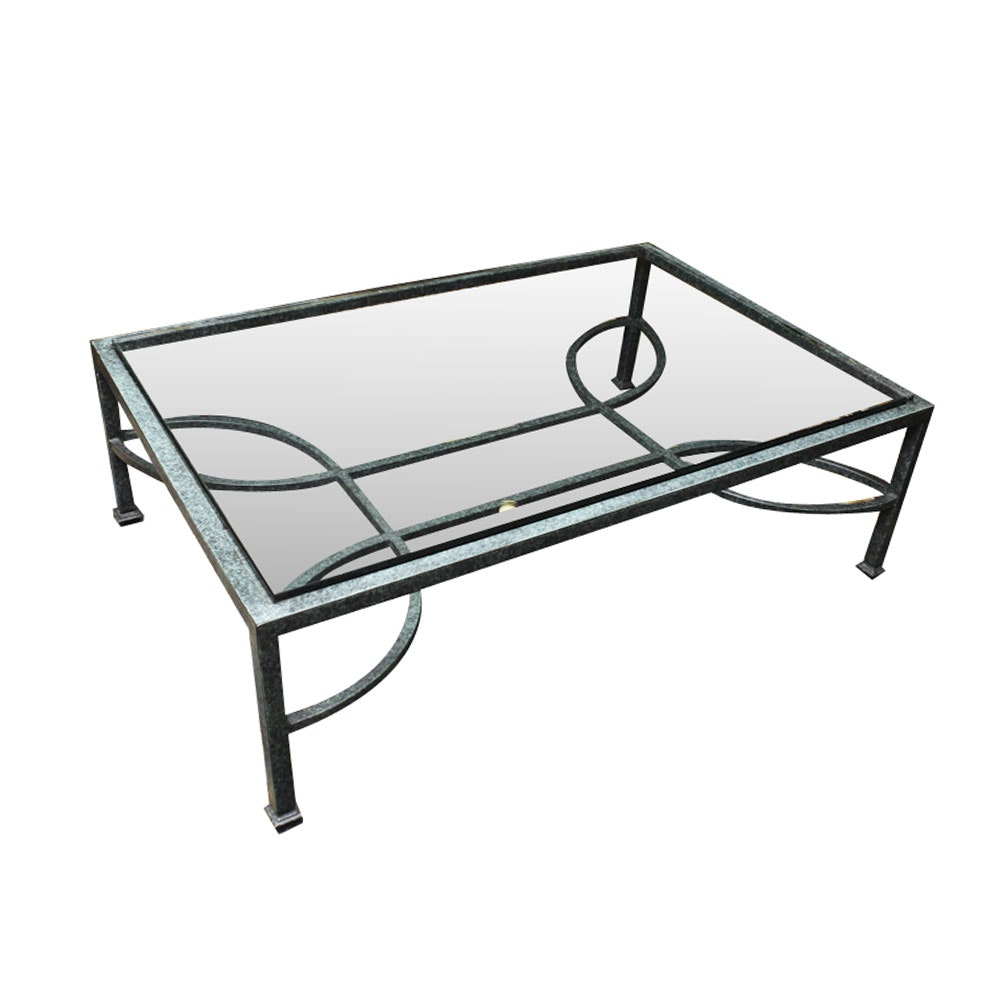 Contemporary Verdigris Metal and Glass Coffee Table