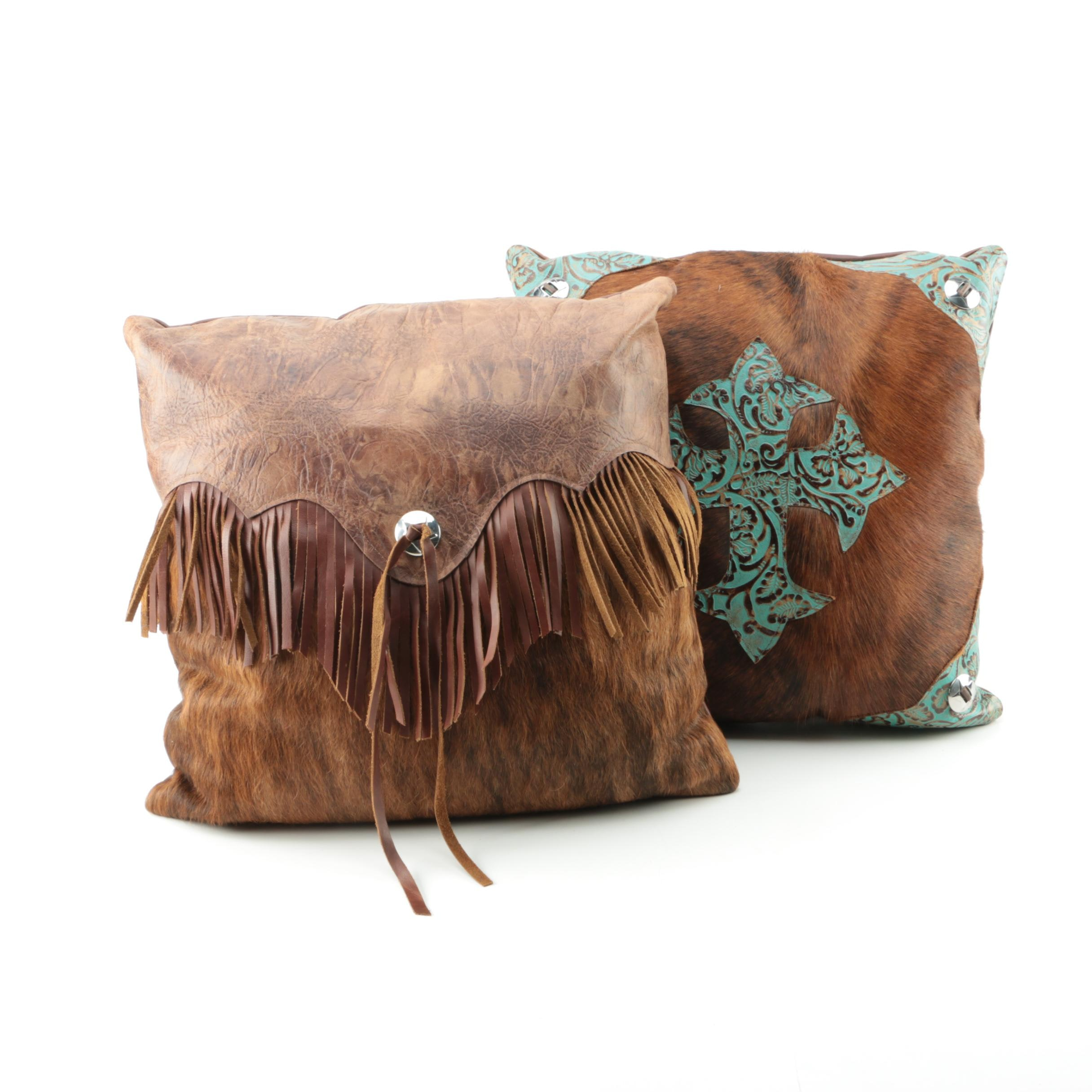 Embellished Cowhide and Leather Accent Pillows