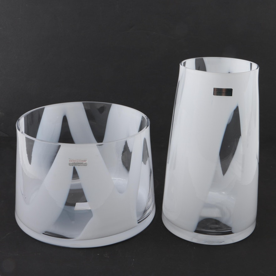 Evolution By Waterford Bianco Bowl And Vase Ebth