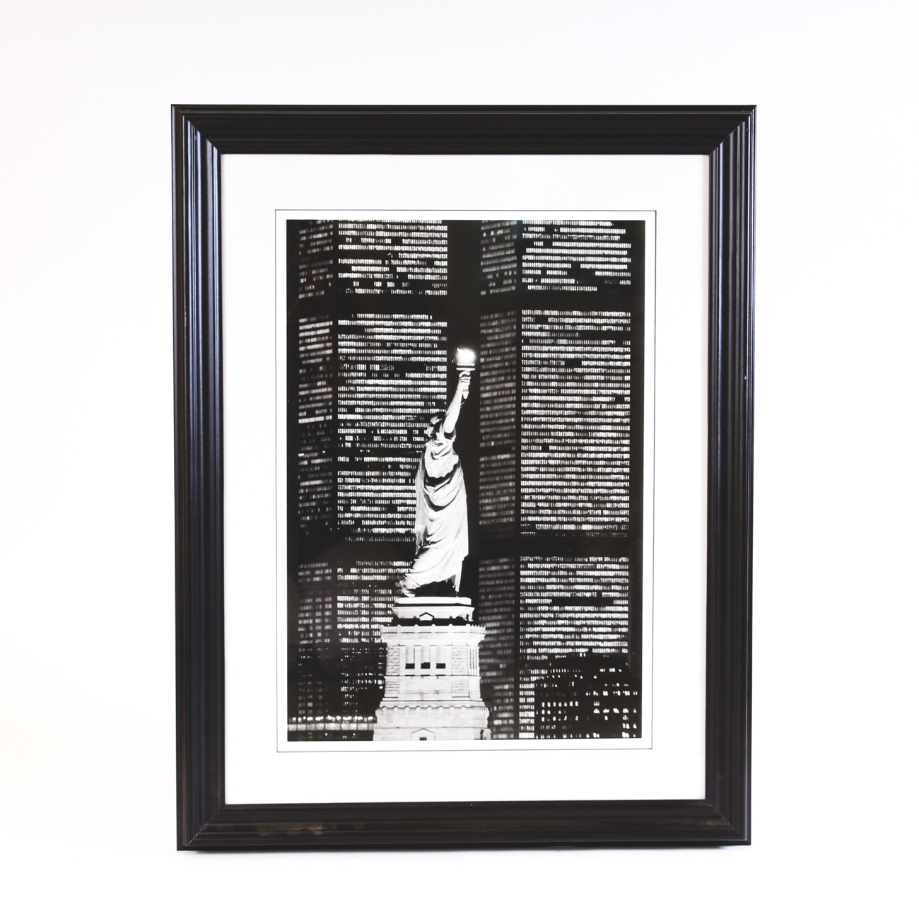 Framed Photograph of the Statue of Liberty Framed by the Twin Towers
