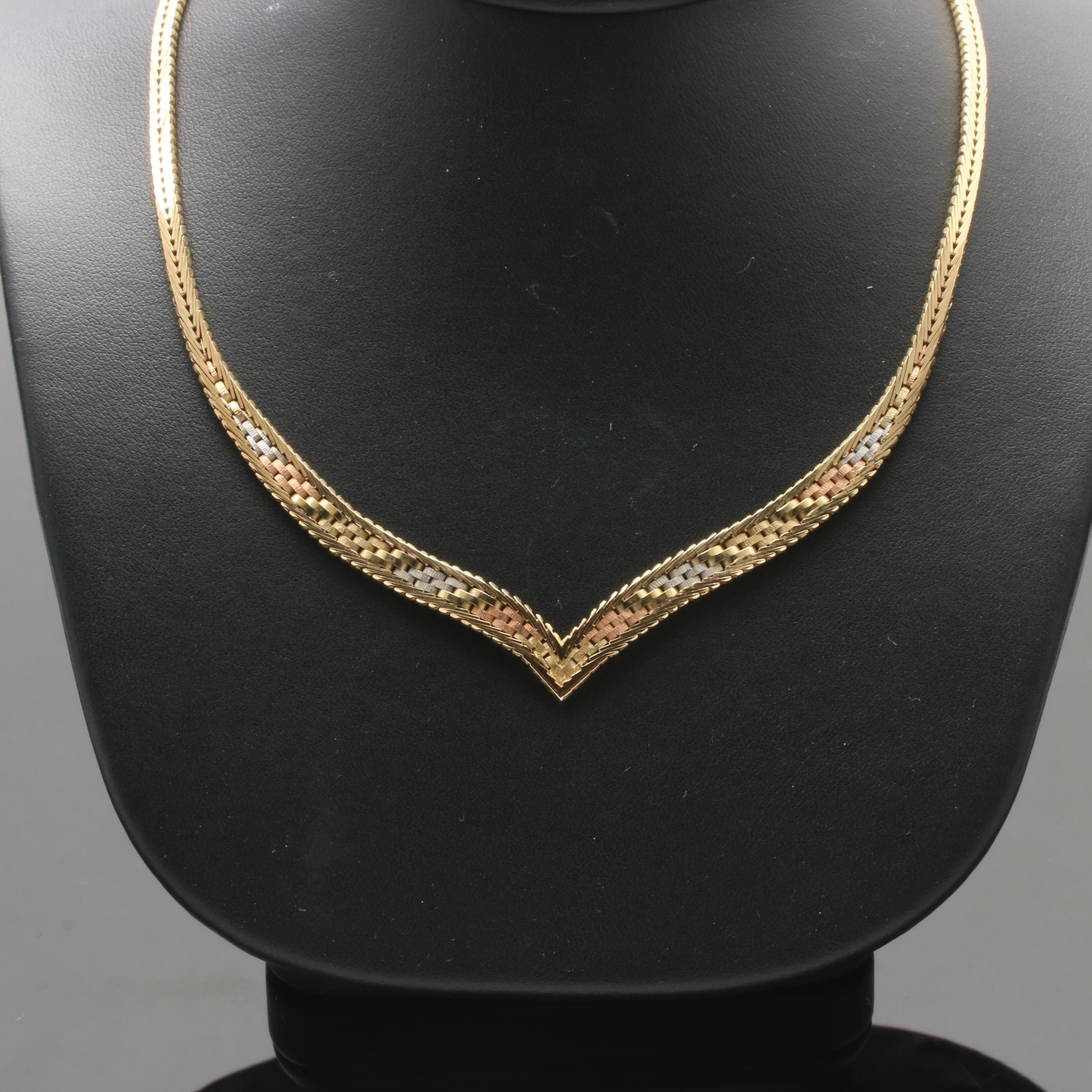 14K Tricolor Gold Chain Necklace