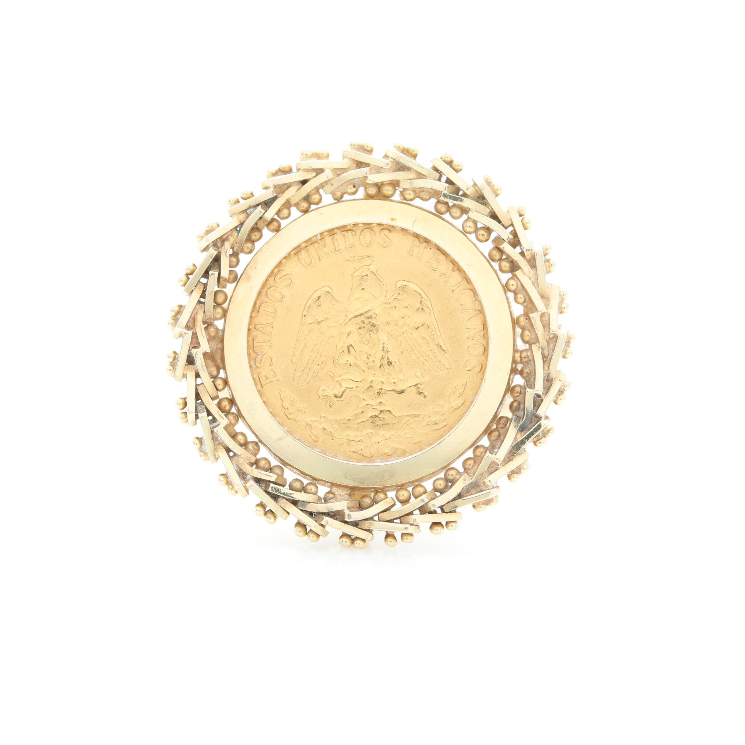 1945 (Restrike) Mexico 2 Pesos 14K and 21K Yellow Gold Coin Ring