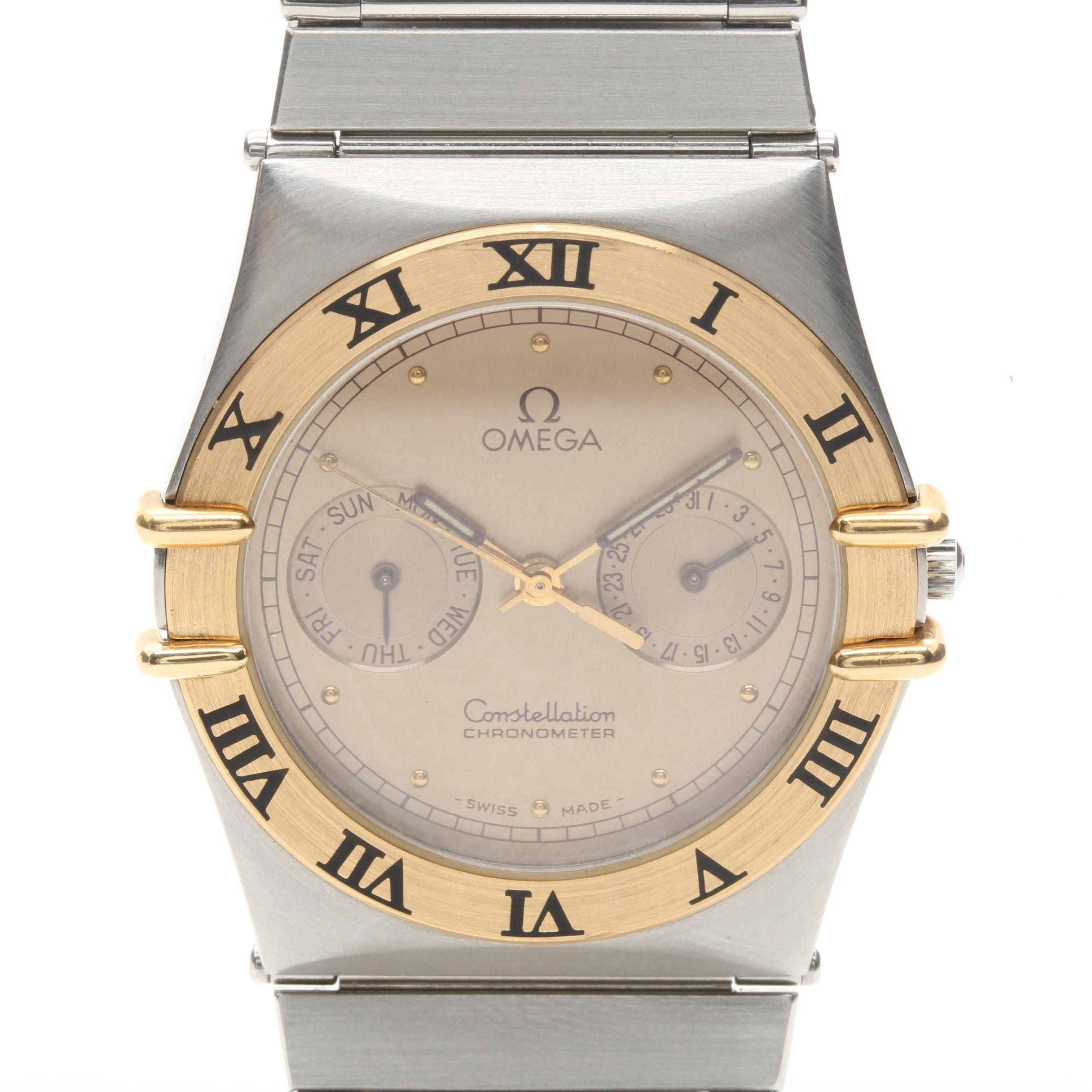 Silver Tone Omega Wristwatch with 18K Yellow Gold Bezel