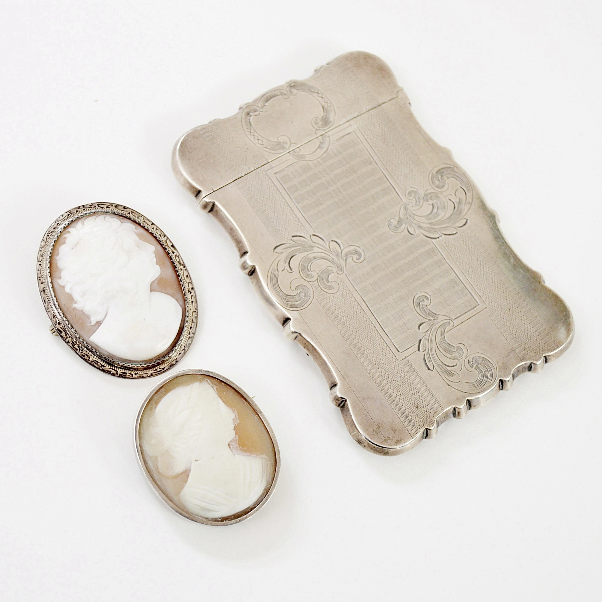 Victorian 900 Card Case and Brooch, Sterling Silver and Helmet Shell Brooch