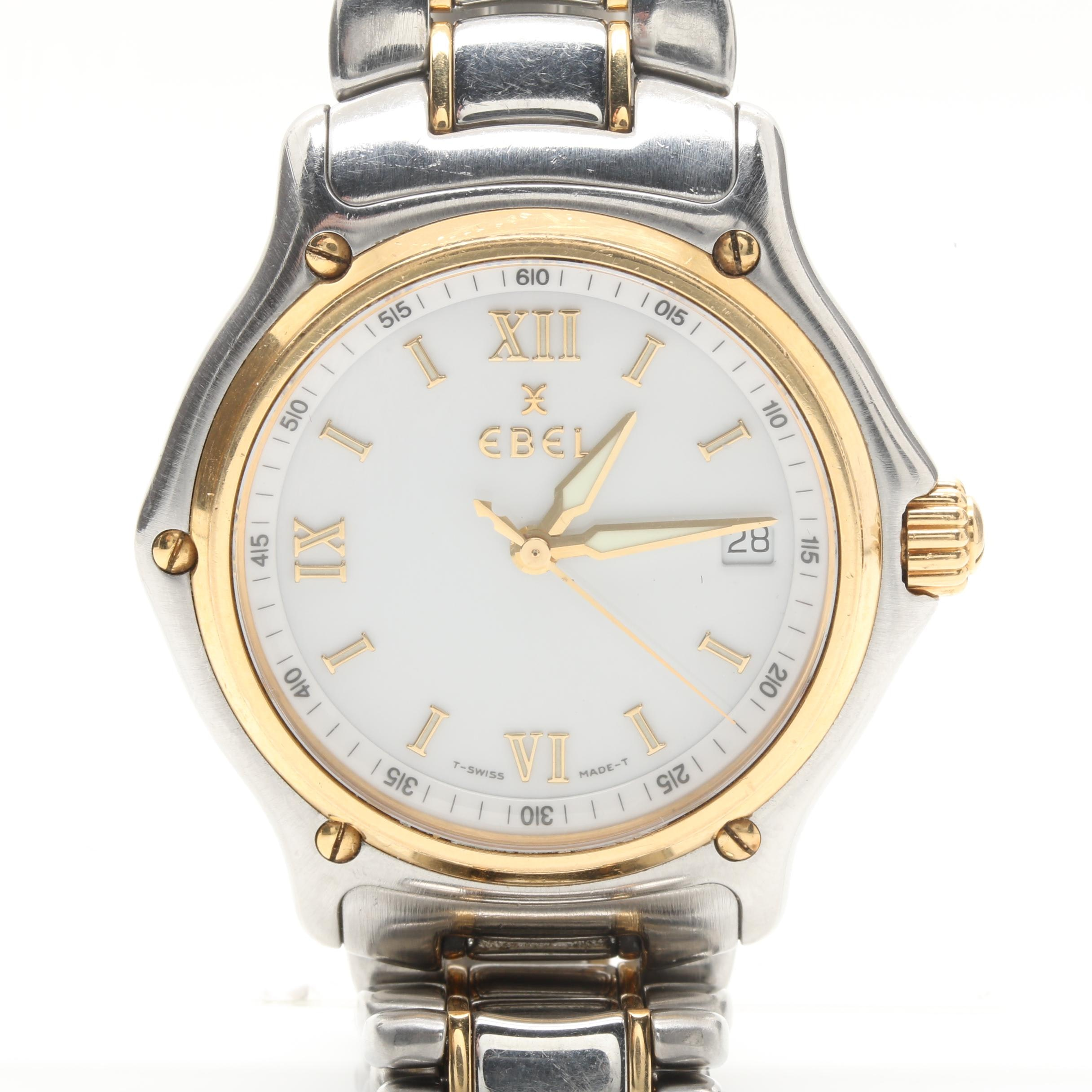 Ebel Two Tone Stainless Steel Wristwatch with 18K Yellow Gold Accents