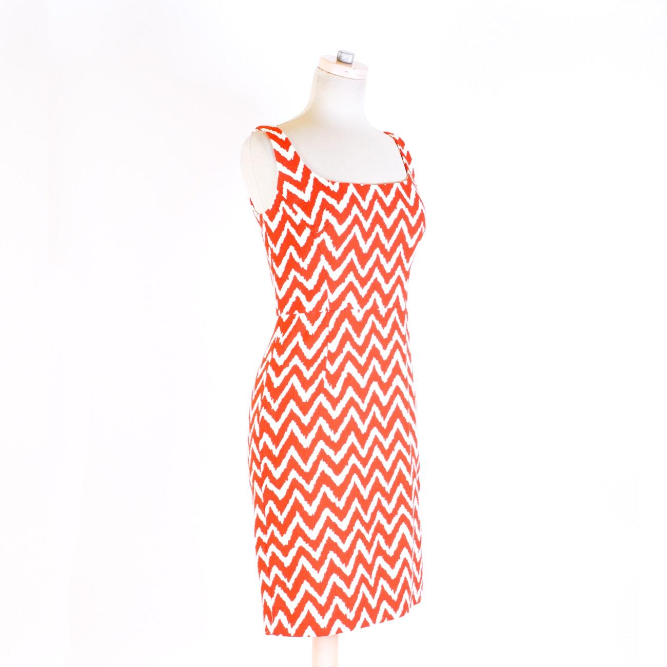 Original Milly of New York Sleeveless Chevron Print Dress