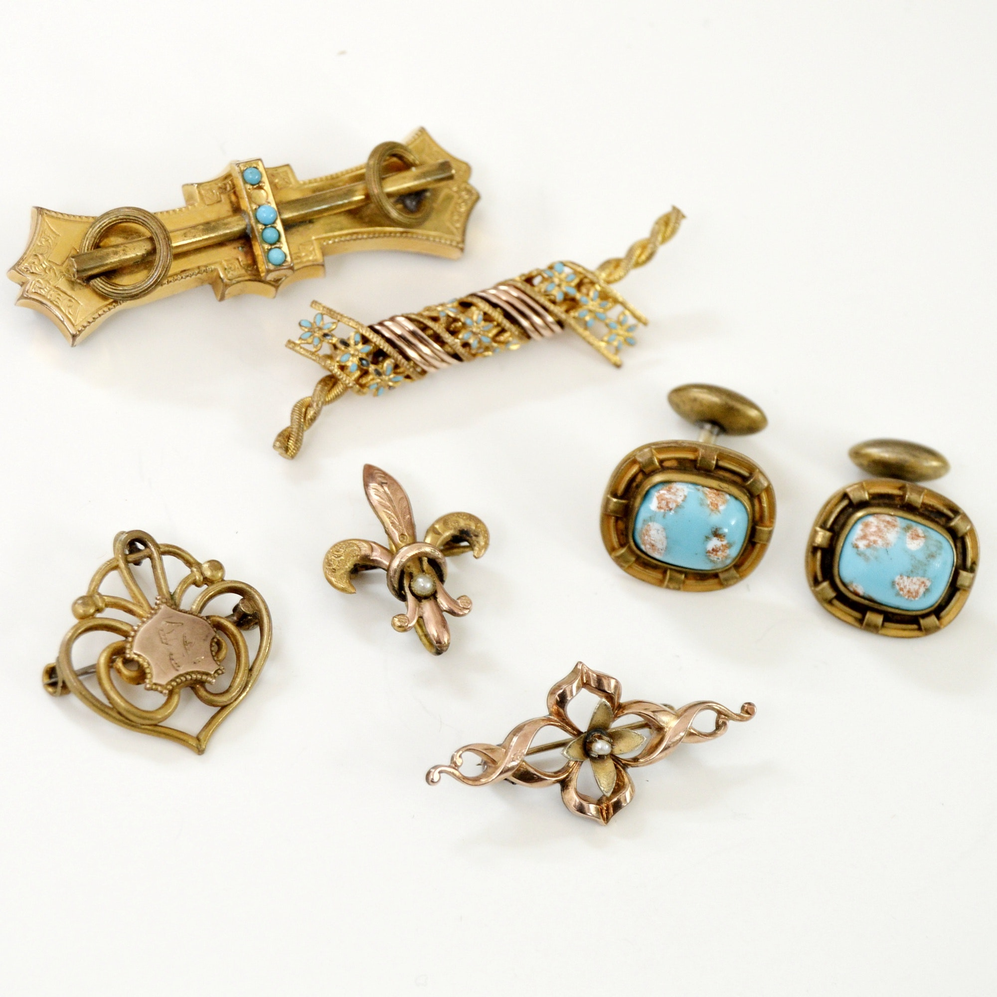 Victorian, Art Nouveau, Arts and Crafts Brooches, Cufflinks