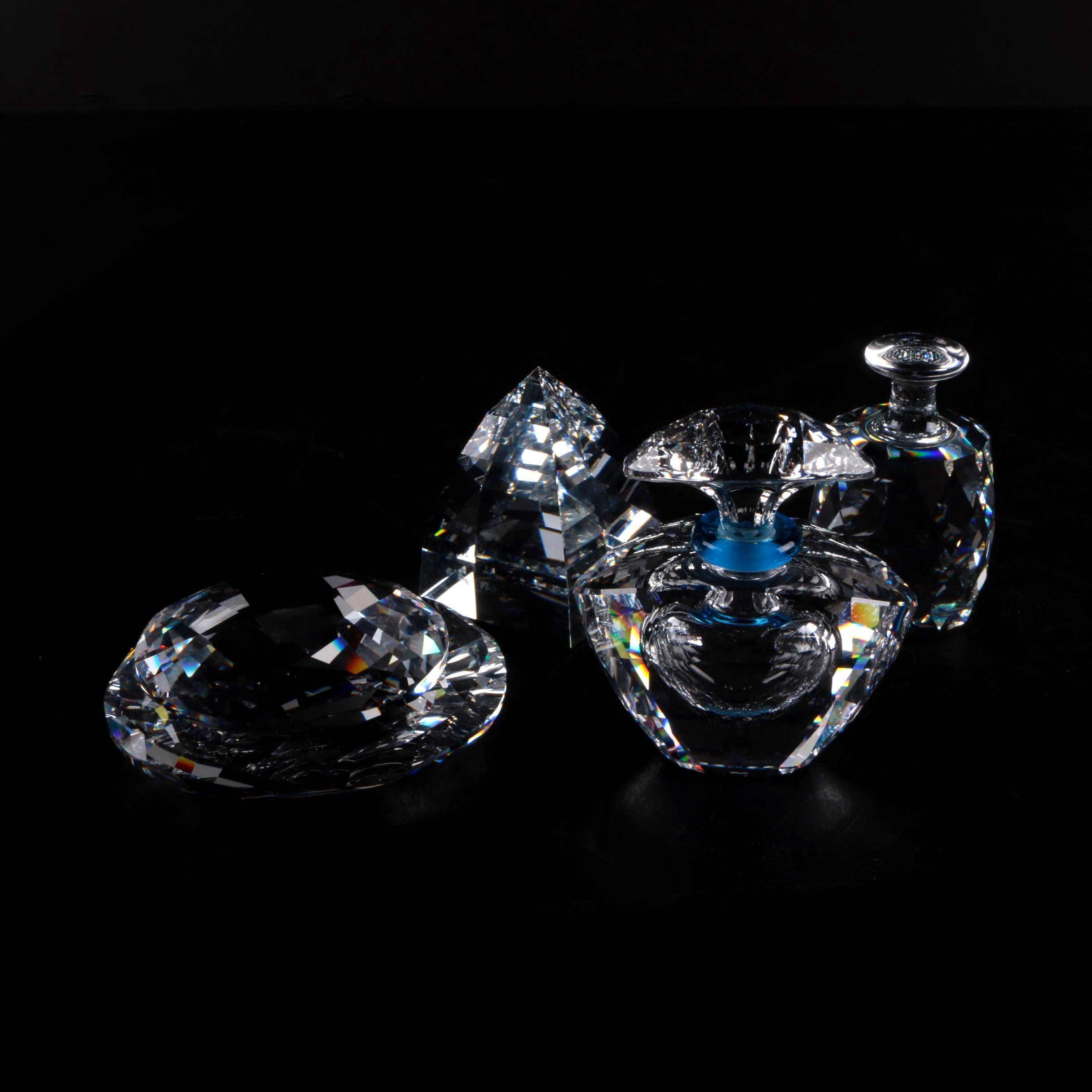 Decorative Swarovski Crystal Bottle and Figurines