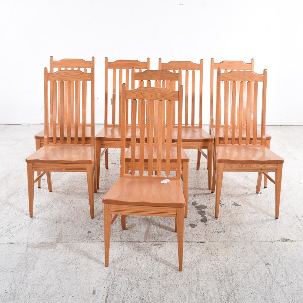 Set of Contemporary Oak Dining Chairs