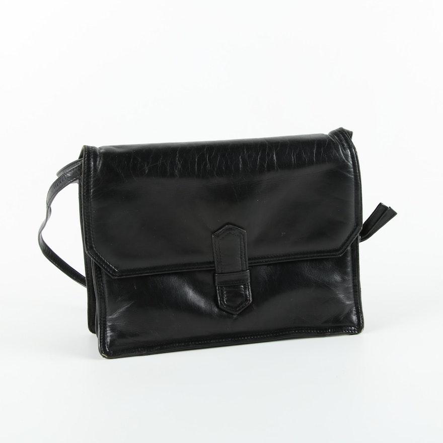 Vintage Bottega Veneta Black Leather Crossbody Bag   EBTH 1dc32e7f6d2e6