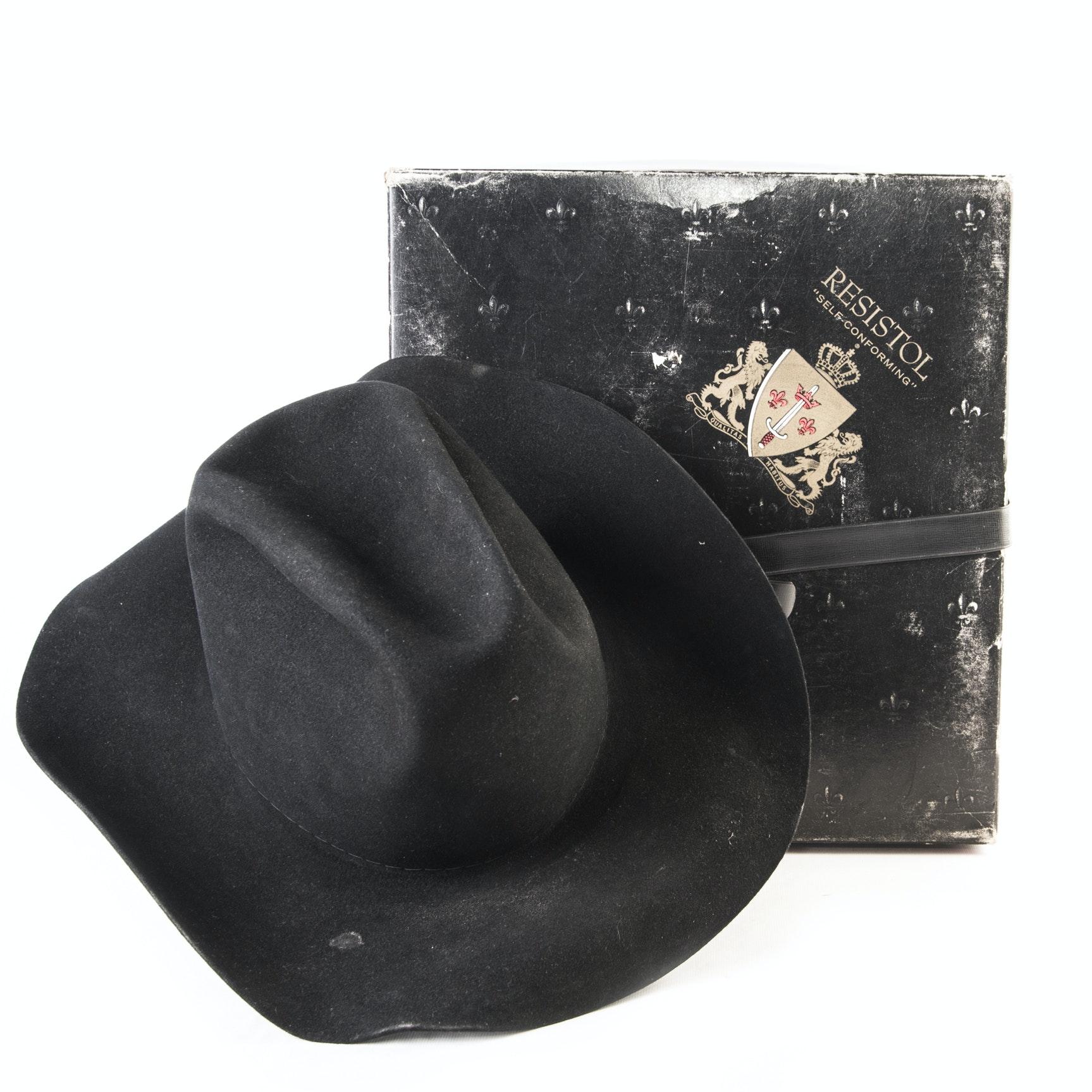 Resistol Black 4X Beaver Felt Self Conforming Cowboy Hat