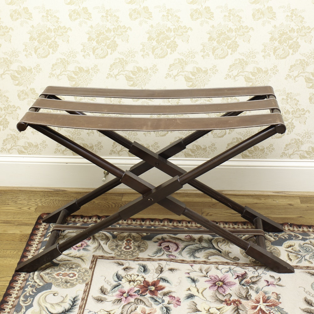 Vintage Wood and Leather Folding Luggage Stand