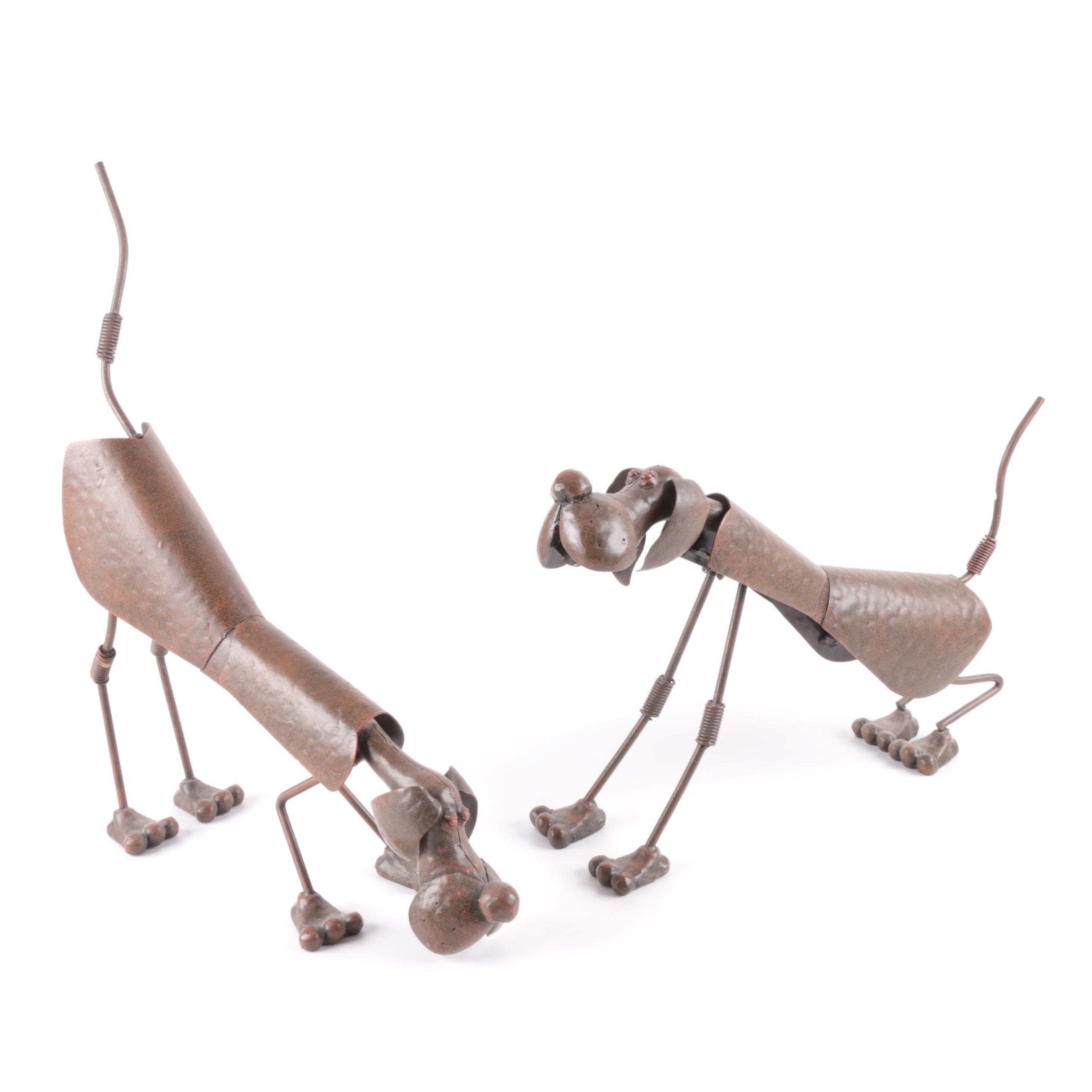Pair of Metal Dog Figurines