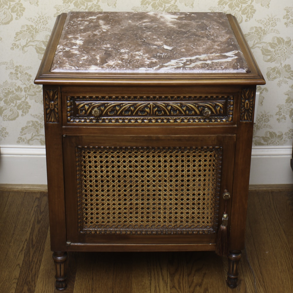 French Style End Table with Caned Door