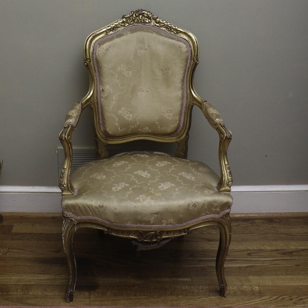 Antique Louis XV Gilded Fauteuil a la Reine