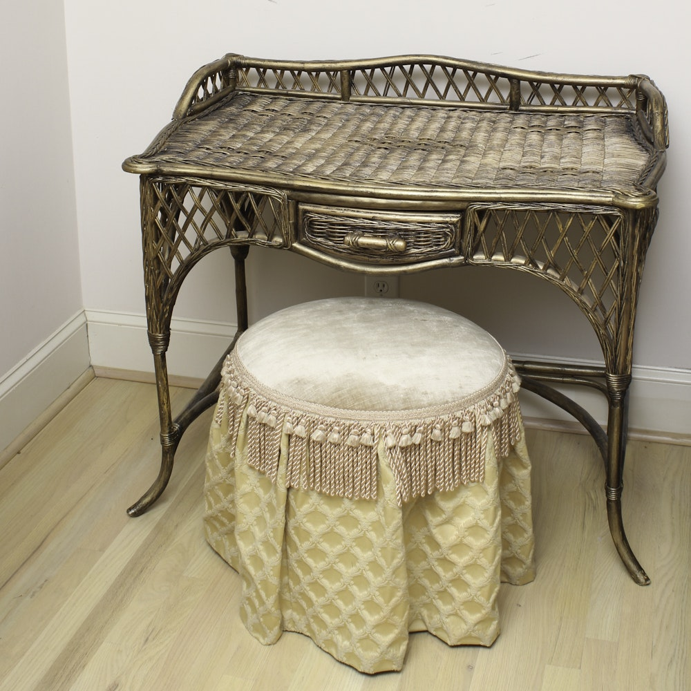 Gold Painted Wicker Vanity and Upholstered Stool