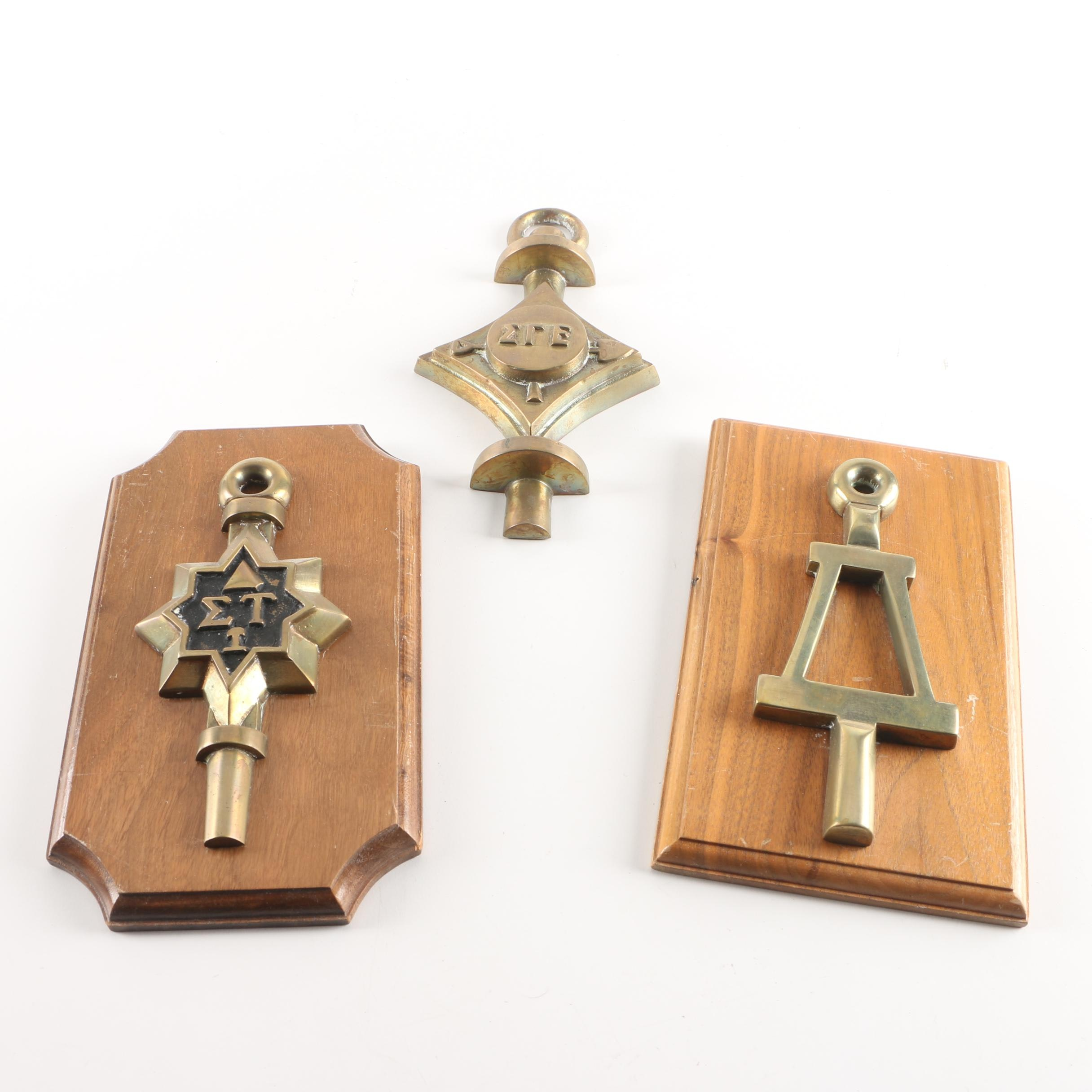 Brass Collegiate Fraternity and Honor Society Wall Hangings