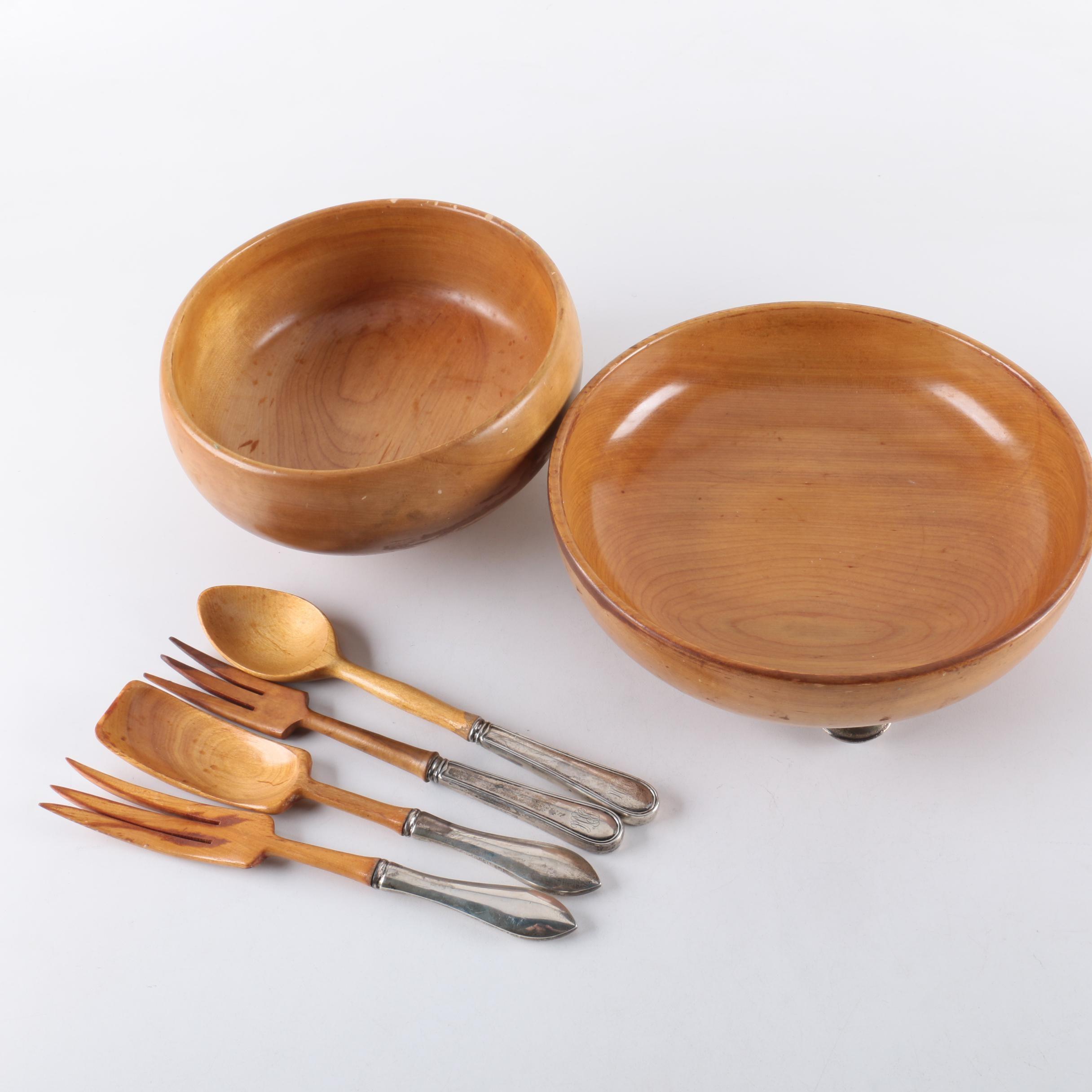Wood Salad Bowls with Sterling Handled Serving Utensils