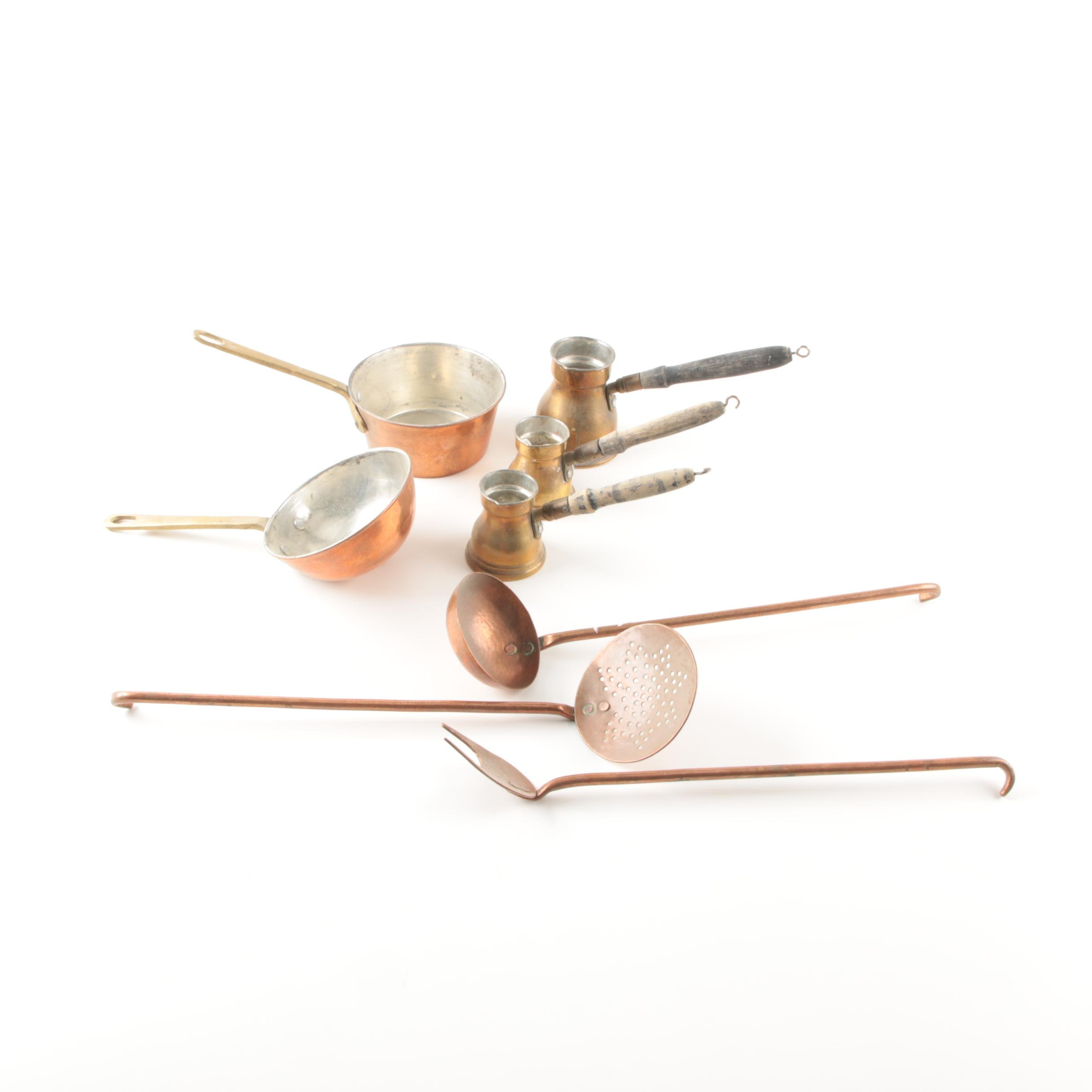 Vintage Brass and Copper Cooking Utensils