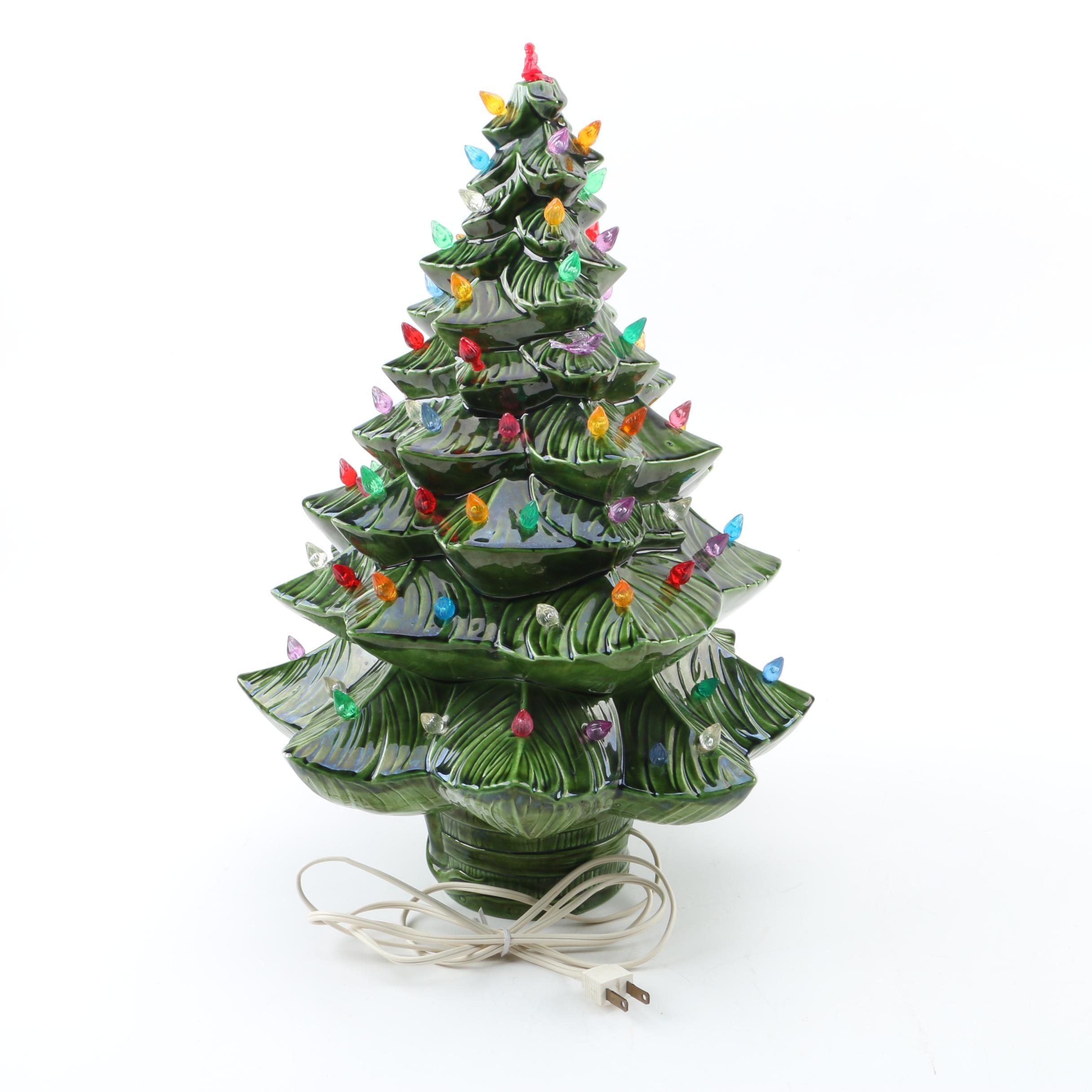 Vintage Hand-Painted Ceramic Christmas Tree Light