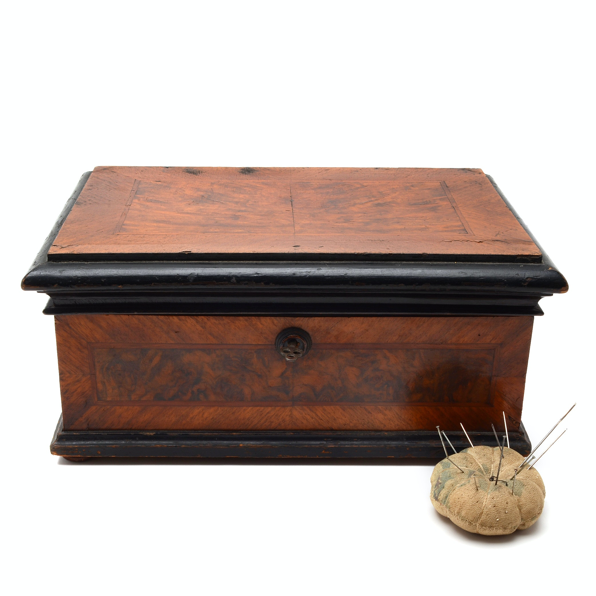Antique Inlaid Sewing Box with Burled Panels, Late 19th Century