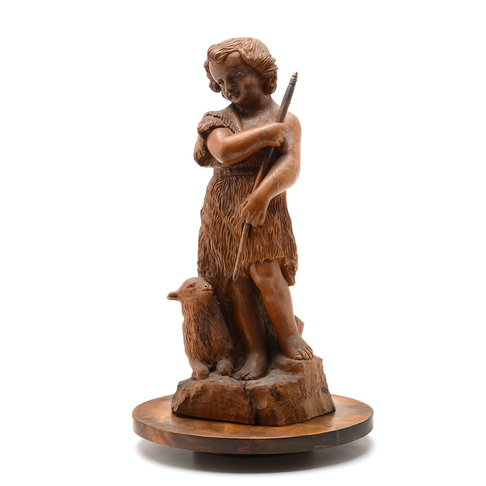 1870 Hakob Avakyan Carved Wood Sculpture of Shepherd with Lamb