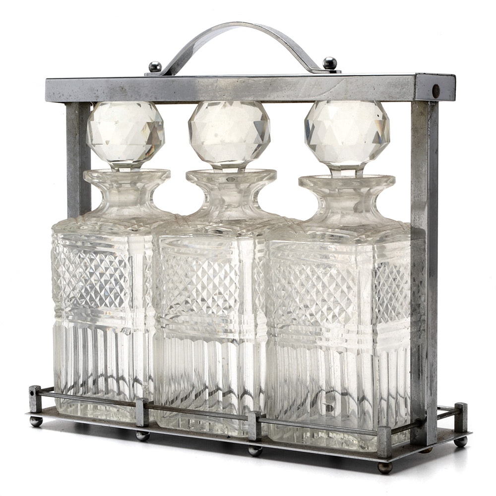 Cut Glass Decanter and Chrome Tantalus