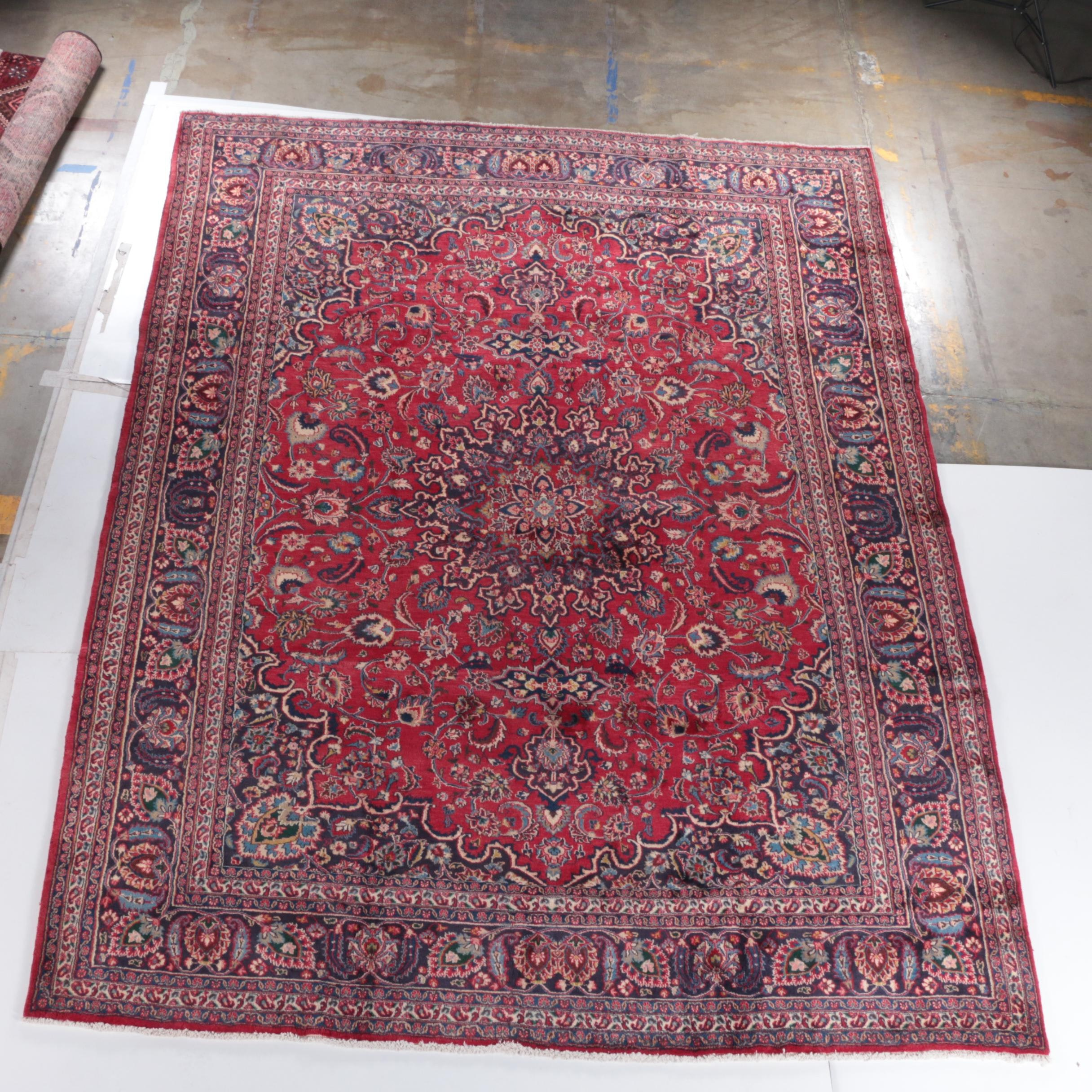 Finely Hand-Knotted Kashan Wool Area Rug