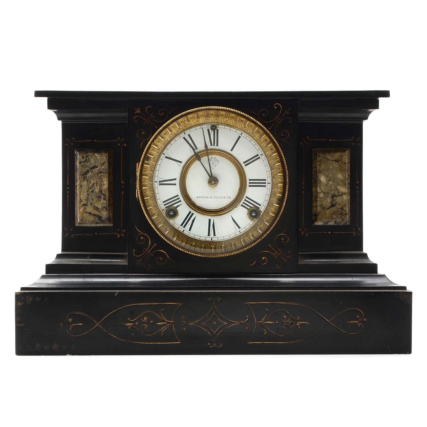 Antique Cast Iron Mantel Clock by Ansonia Clock Co., Late 19th Century